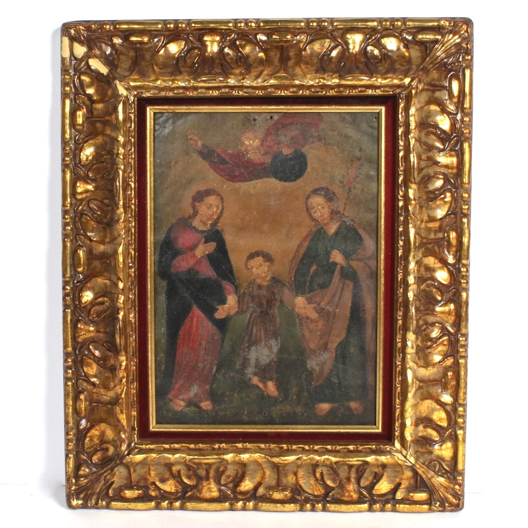 Framed Antique Religious Painting on Tin