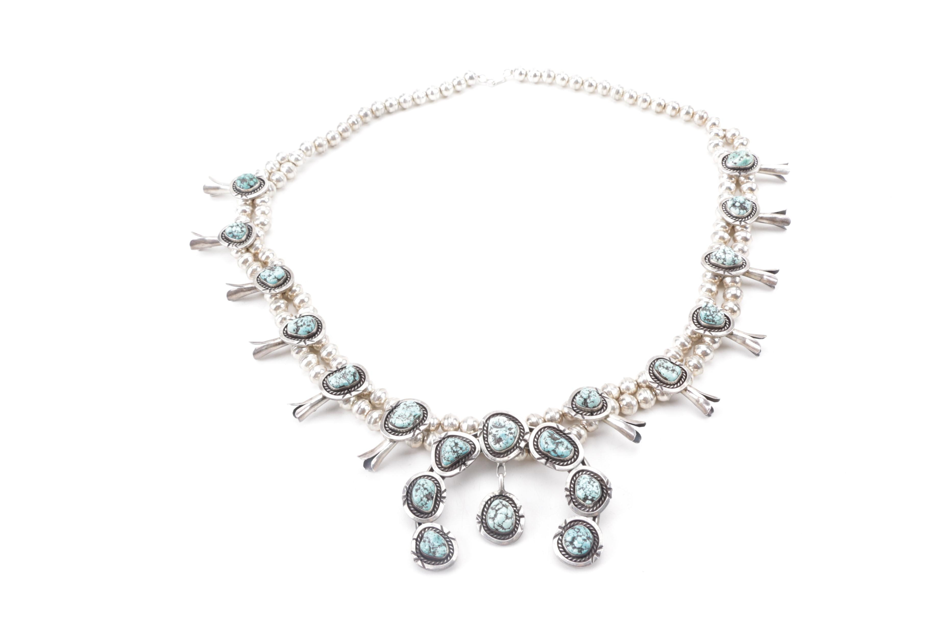 Southwest Style 800 and 900 Silver Squash Blossom Necklace