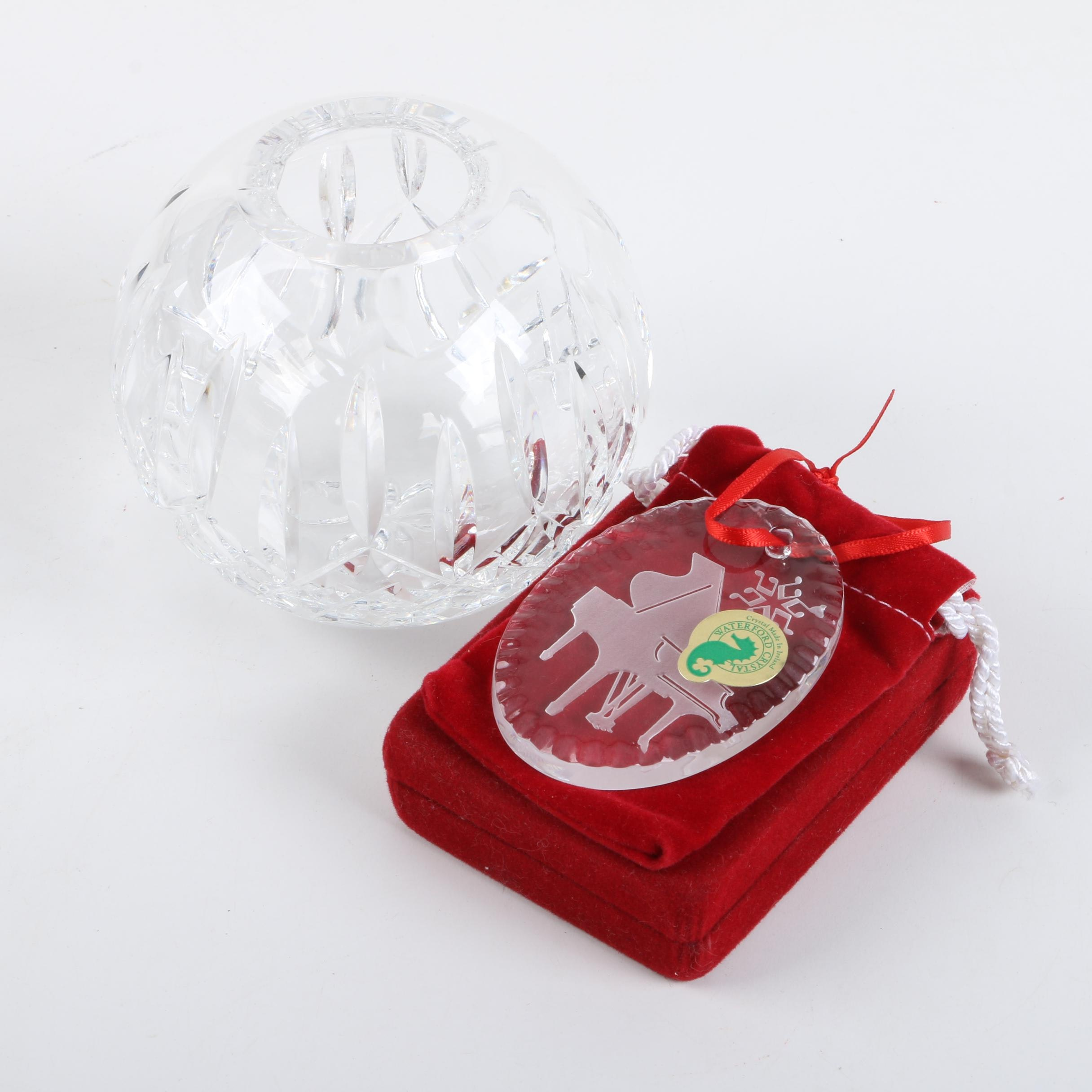 "Waterford ""Lismore"" Crystal Rose Bowl and Etched ""Piano"" Ornament"