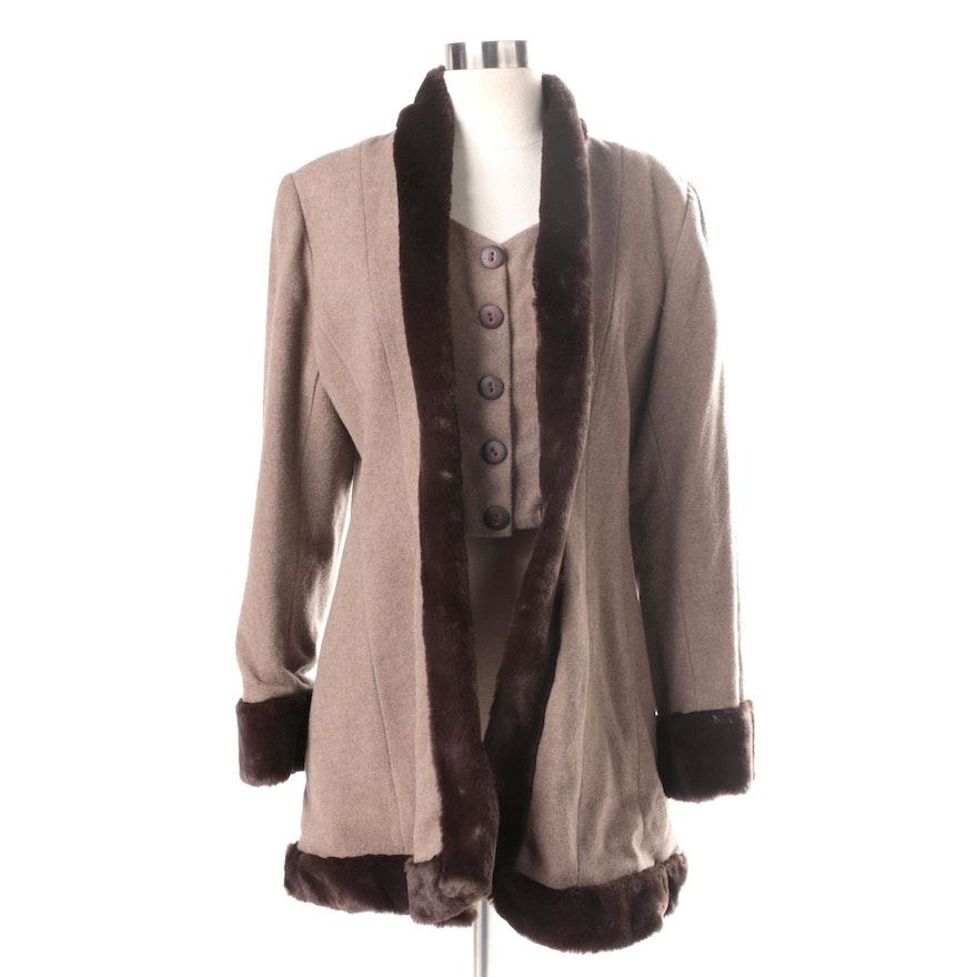 5950561e256 Women s Sandro Paris Wool Blend Coat with Faux Fur Trim   EBTH