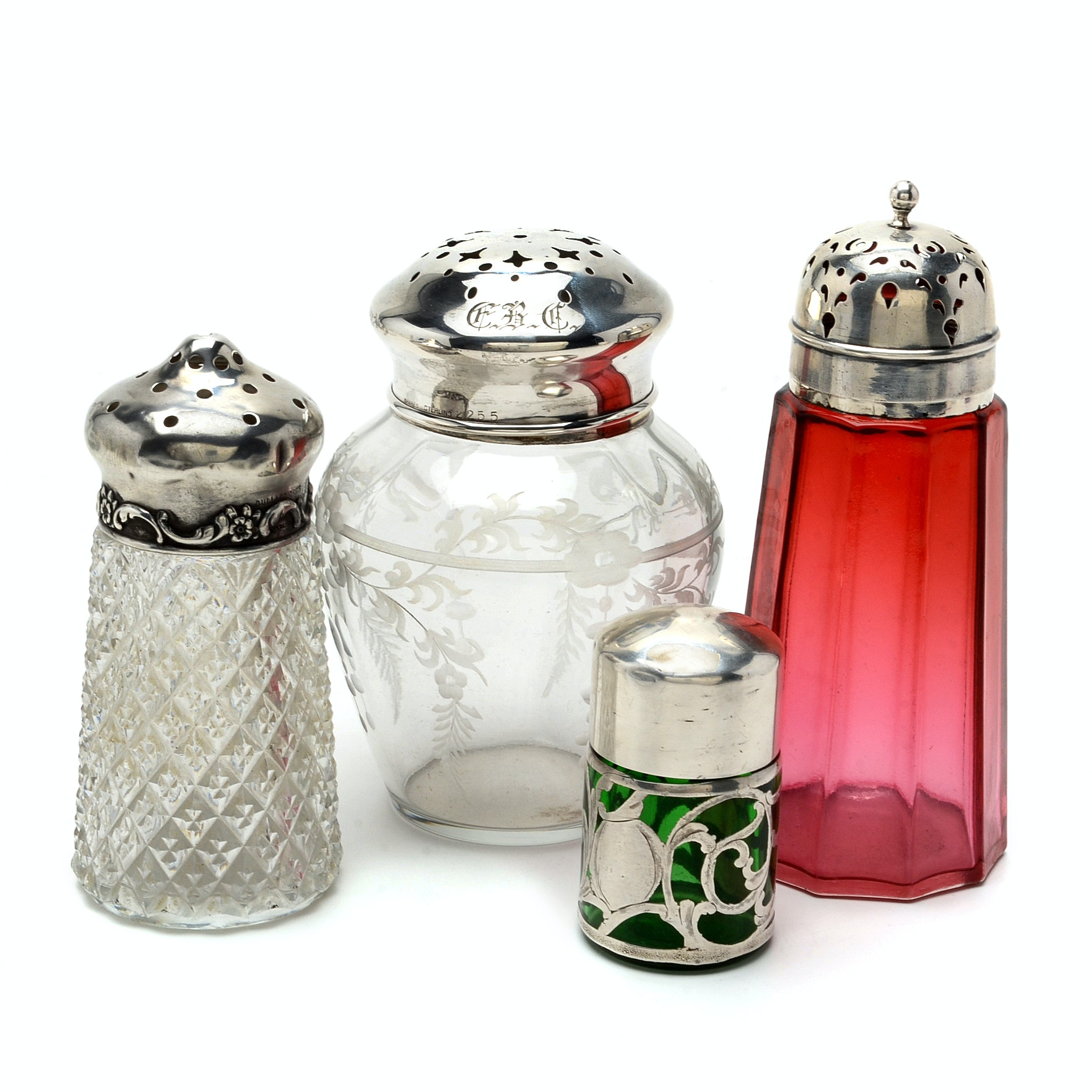 Three Vintage Shakers and an Ink Bottle with Sterling Overlay