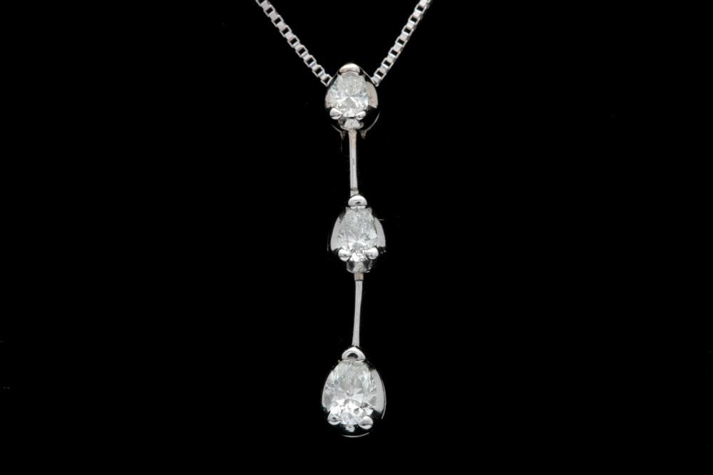 14K White Gold Three Stone Diamond Pendant with Chain