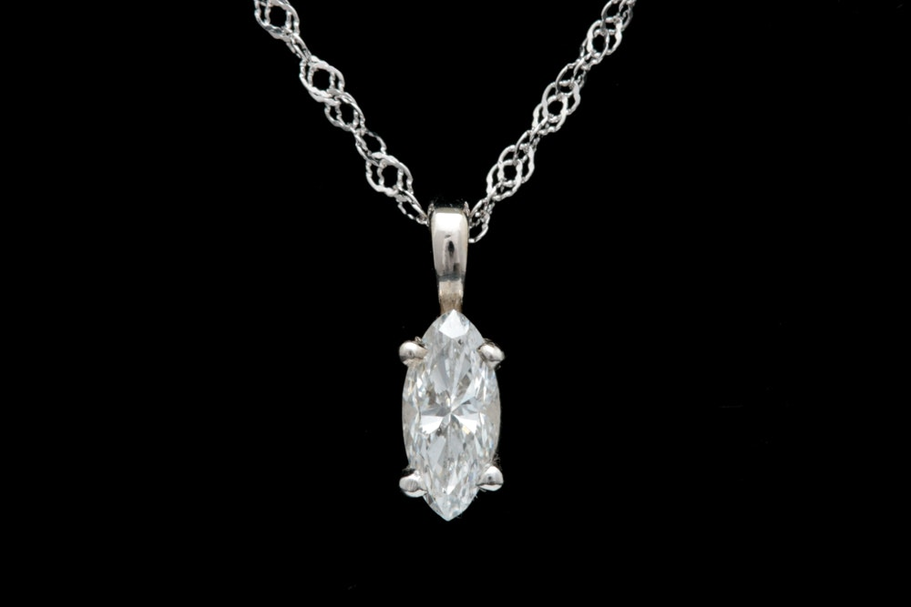 14K White Gold and Marquise Cut Diamond Solitaire Pendant with Chain
