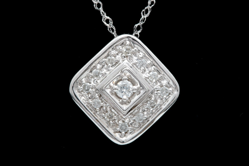 14K White Gold and Diamond Cluster Pendant with Chain