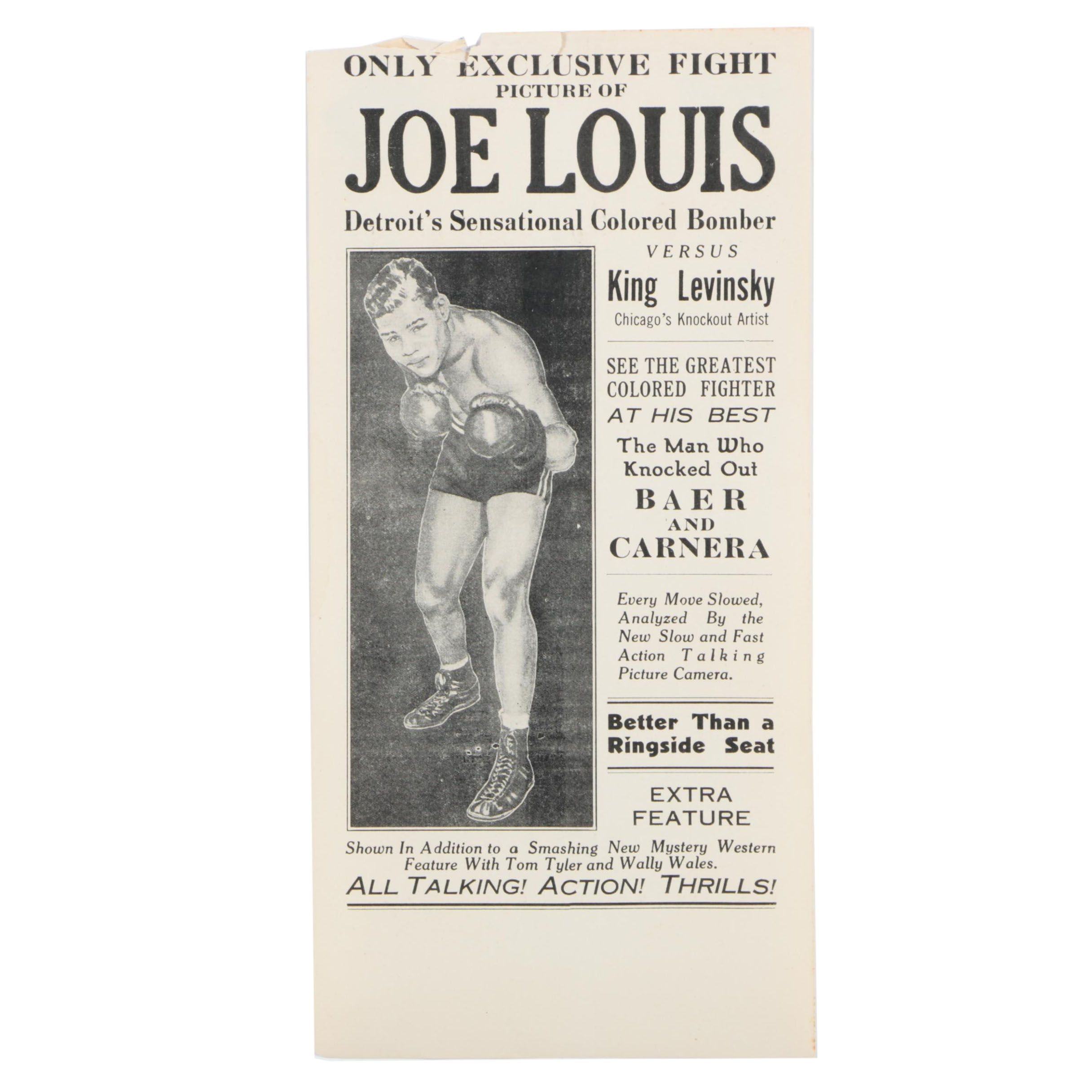 Vintage Poster for a Showing of a Joe Louis Boxing Match