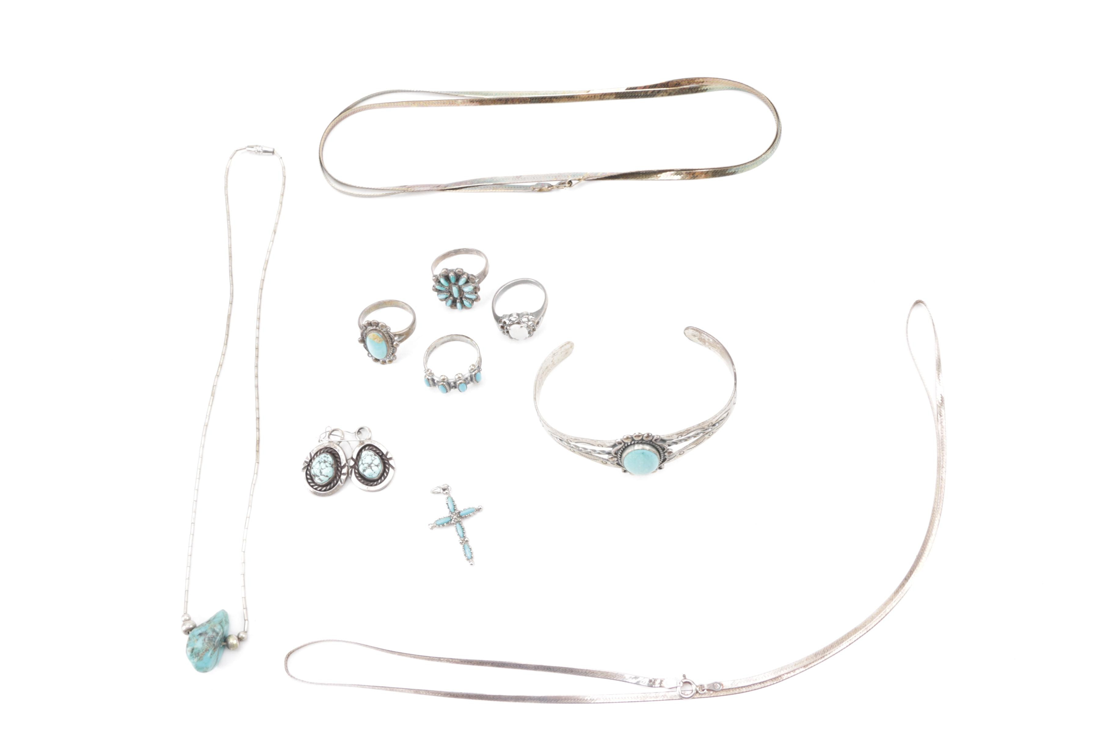 Grouping of Sterling Silver Jewelry Including Bell Trading Post