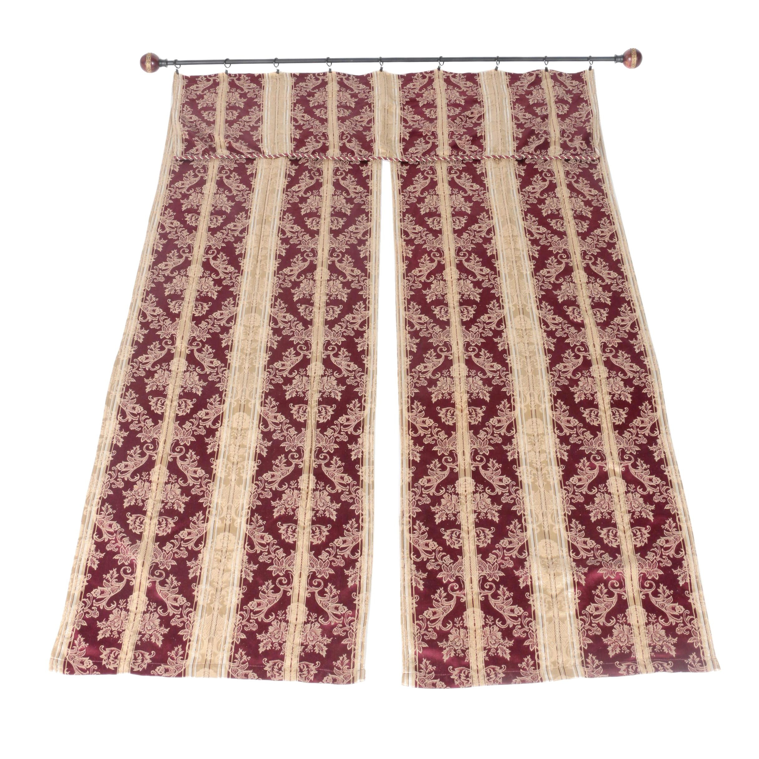 Pair of Damask Drapery Panels with Rings and Rod