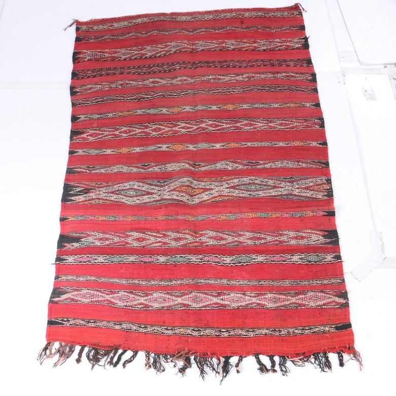 """Handwoven Moroccan Blue Ocean Traders """"Omar"""" Wool Kilim"""