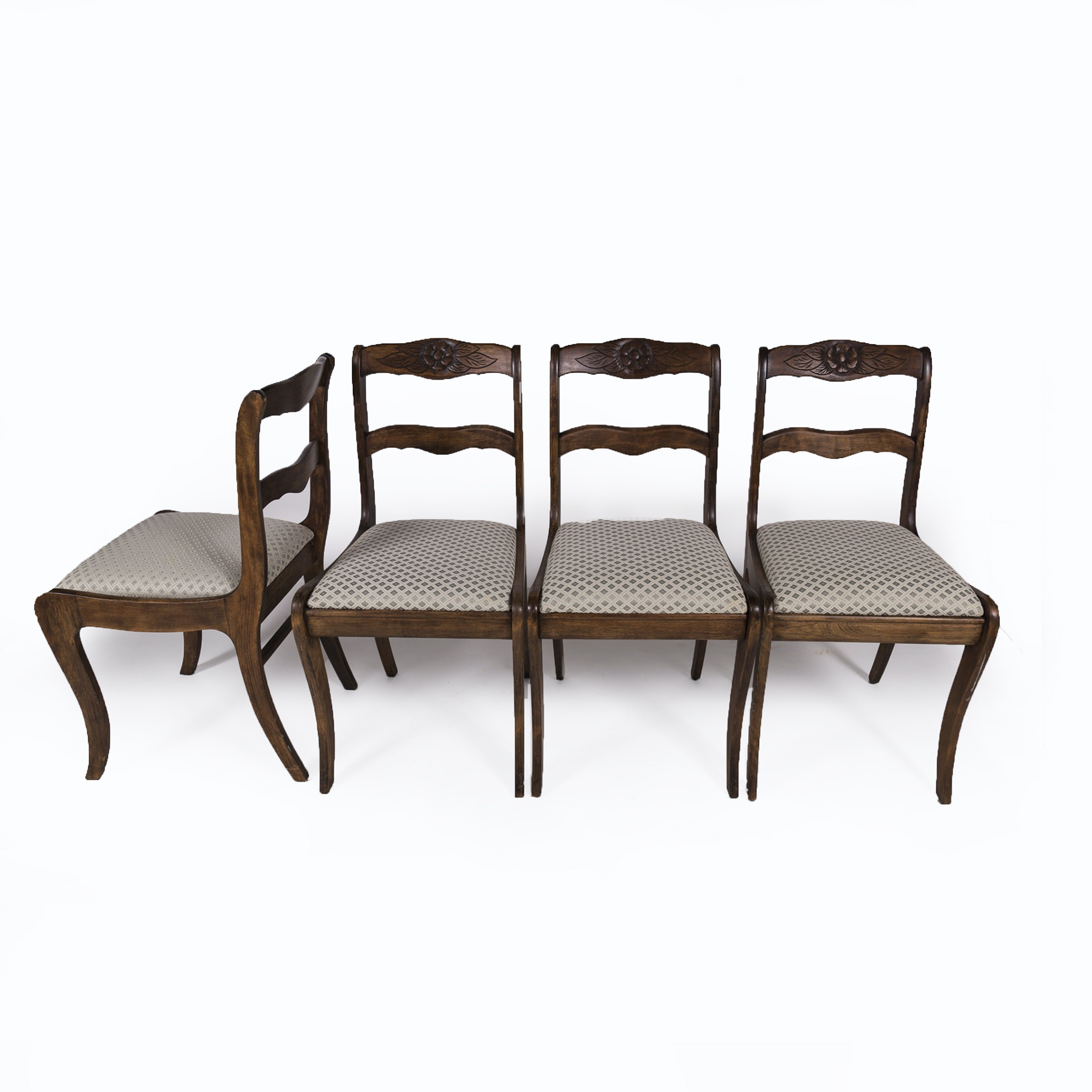 Set of Four Victorian Style Walnut Upholstered Dining Chairs