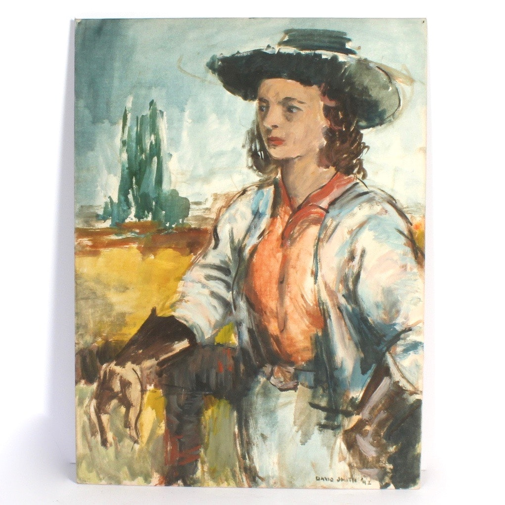 """David L. Smith Oil Painting """"Cowgirl #38"""""""