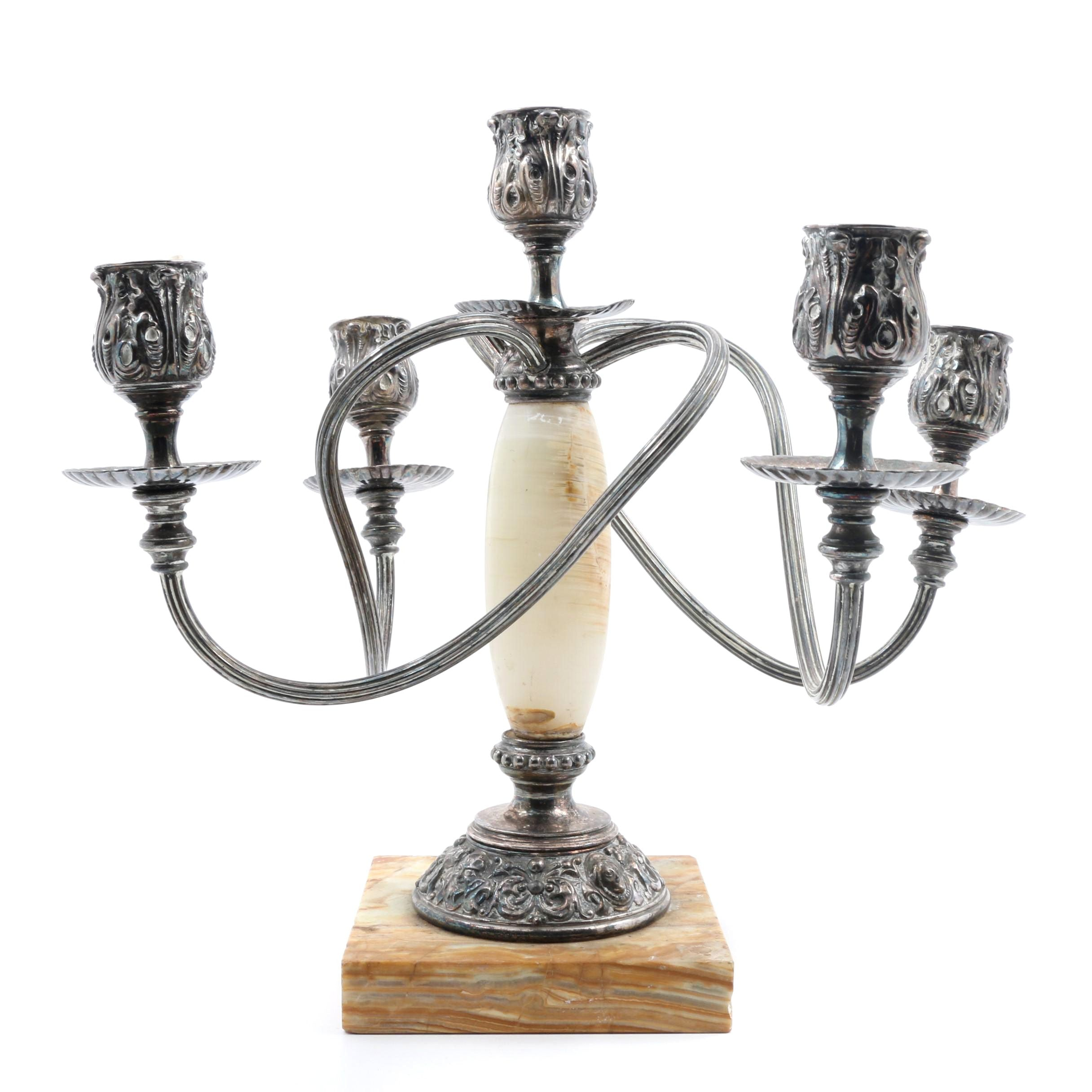 James W. Tufts Antique Quadruple Plated Silver and Marble Candle Stick Holder