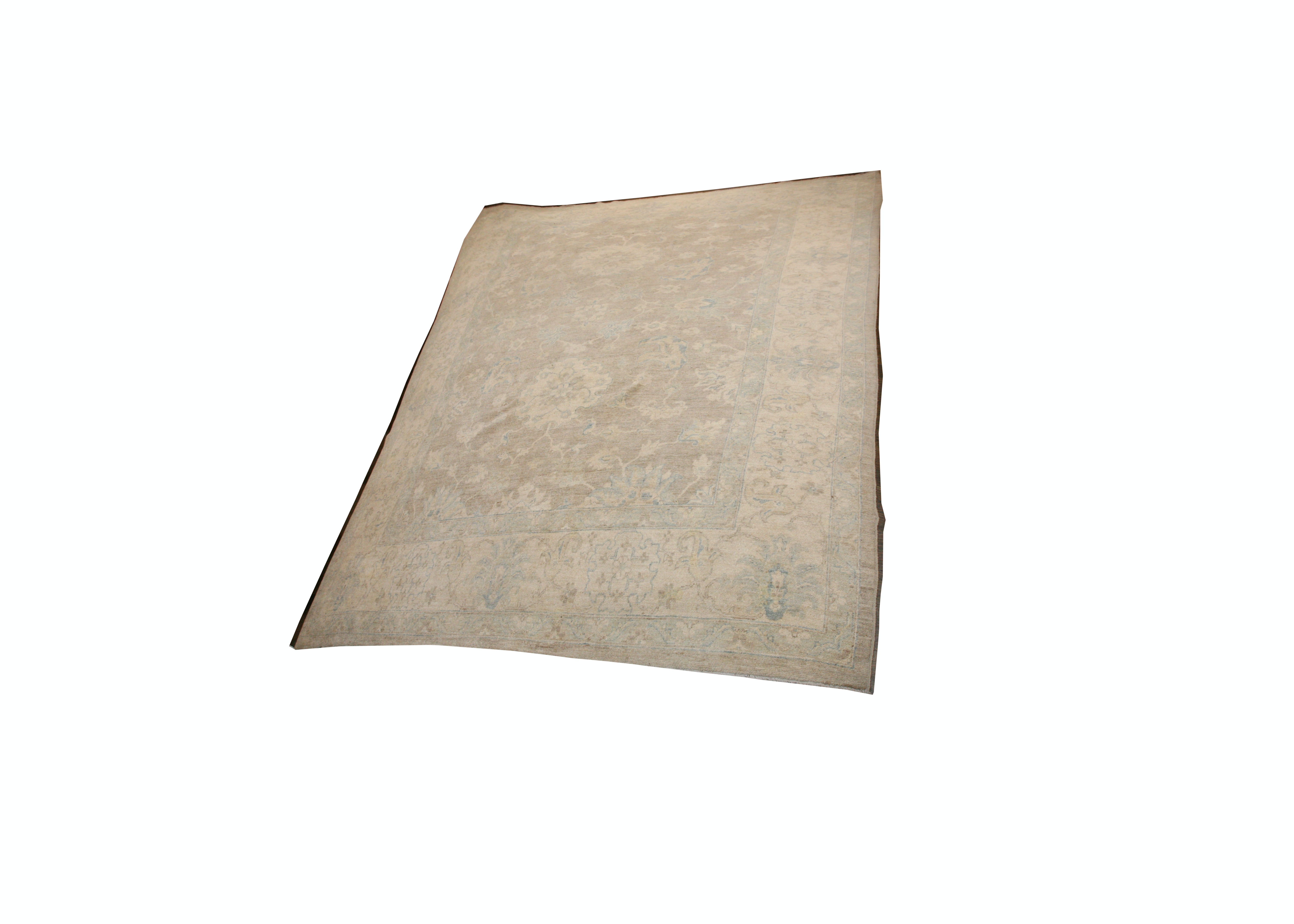 Large Hand-Knotted Peshawar Area Rug