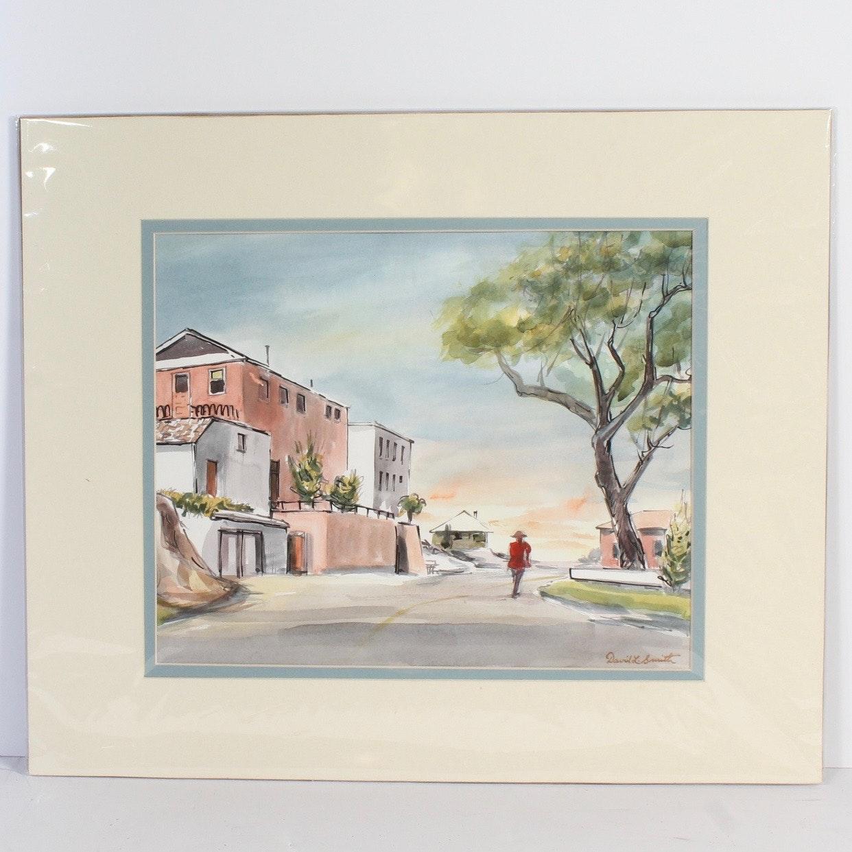 """David L. Smith Watercolor """"Buildings 57"""""""