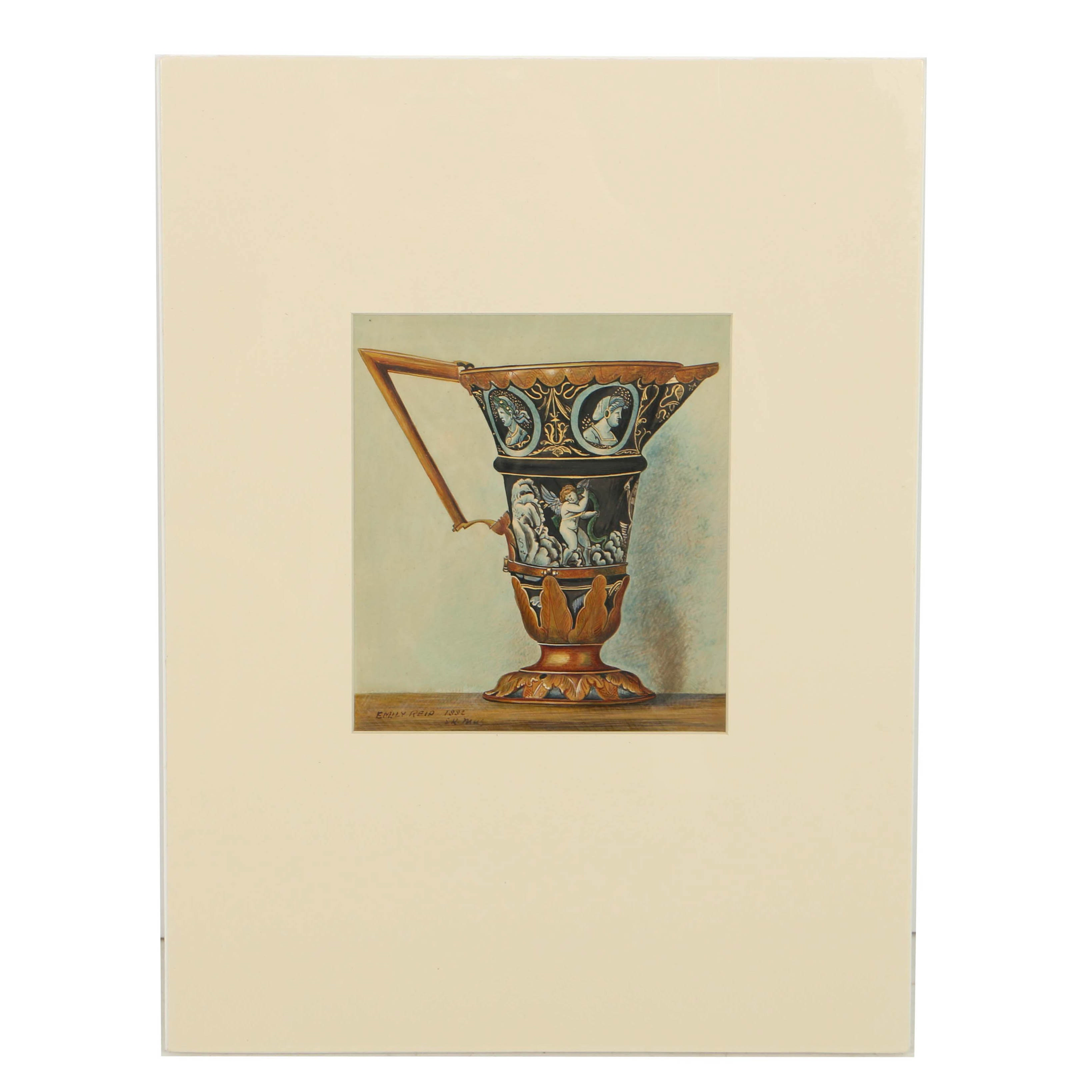 Emily Reid Gouache Painting on Salt Print of a Limoges Enamel Ewer
