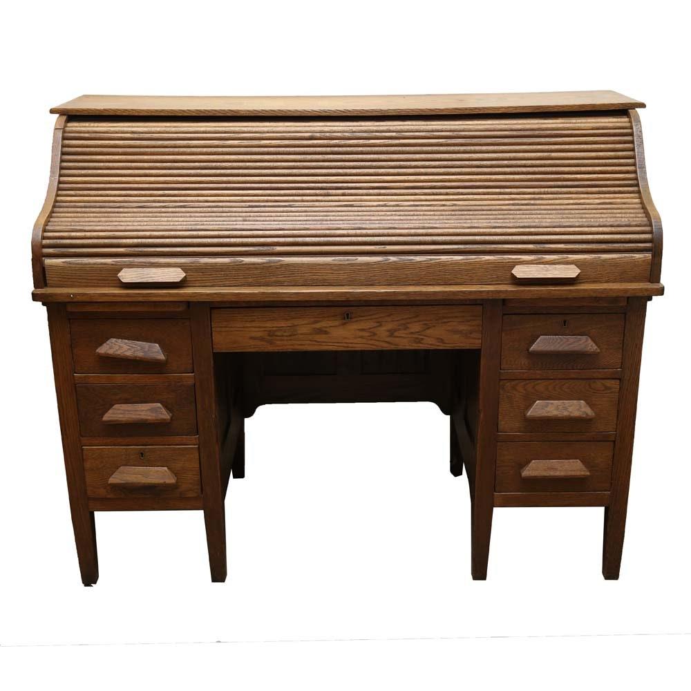 Antique Oak Tambour Roll Top Desk