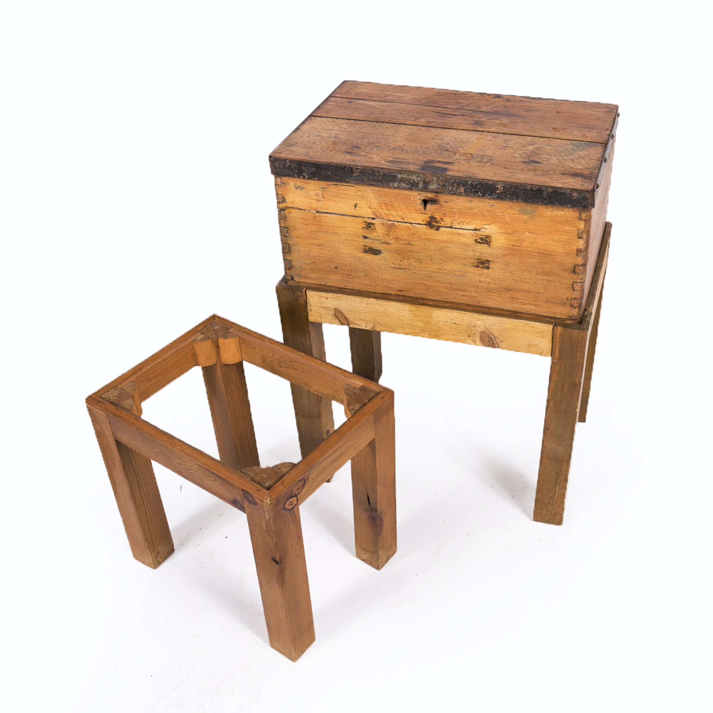 Antique Campaign Style Chest on Stand with Stand