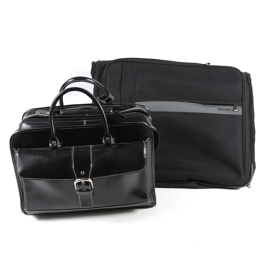 ad2326931c Eddie Bauer Garment Bag and Black Rolling Briefcase   EBTH