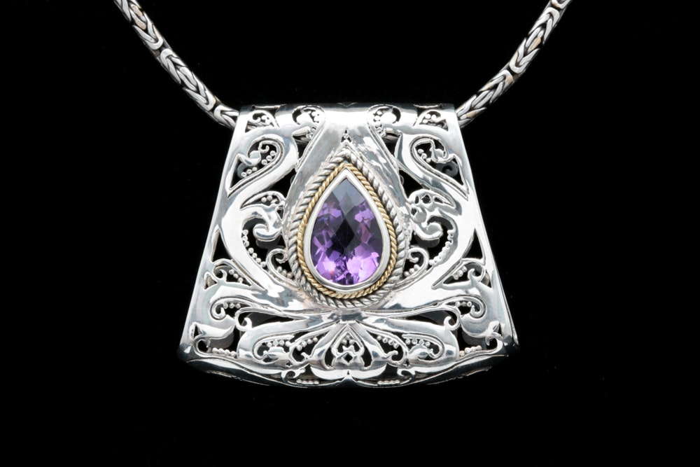 Robert Manse Sterling Silver, 18K Yellow Gold and Amethyst Pendant with Chain
