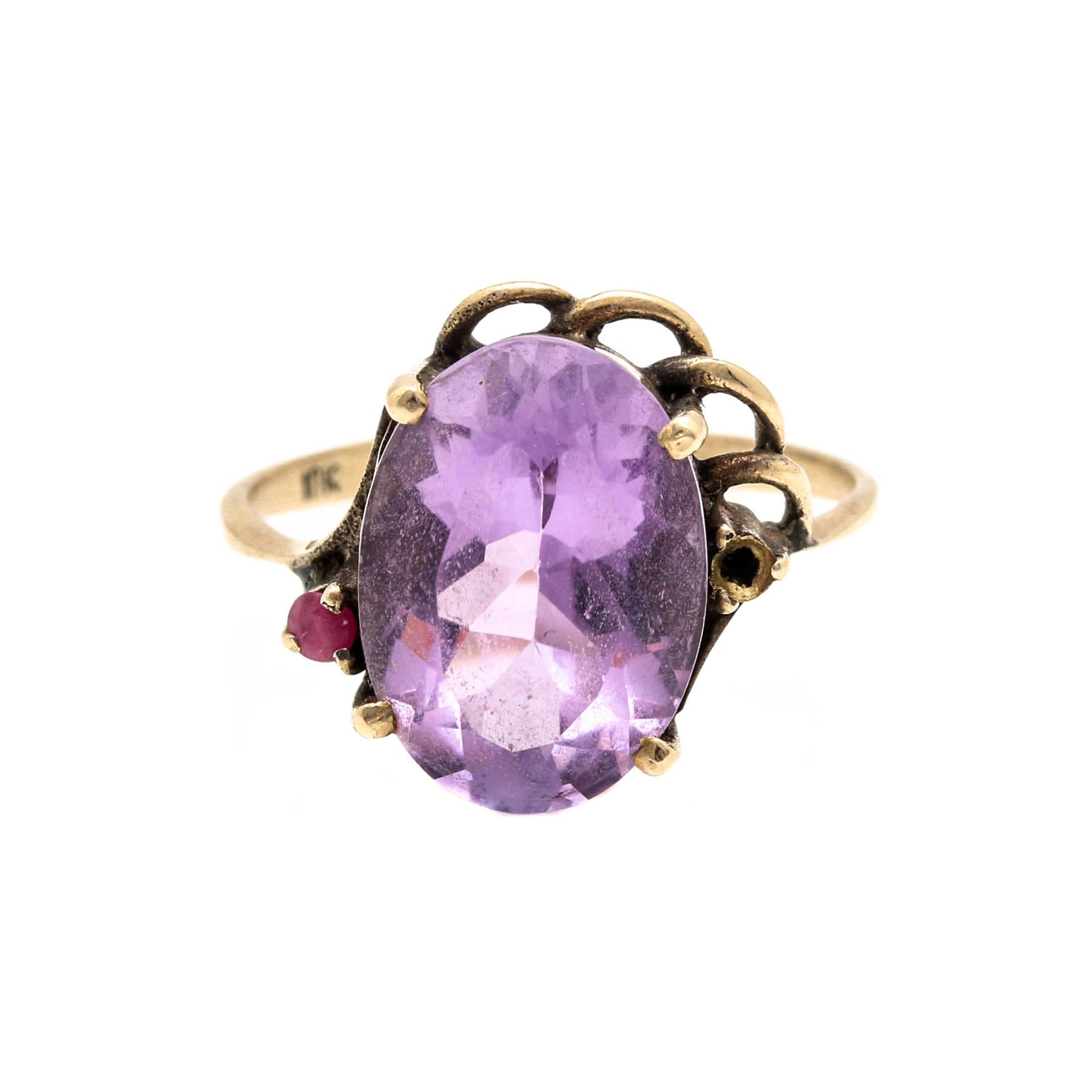 10K Yellow Gold Amethyst and Ruby Ring