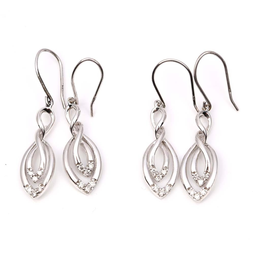 Two Pairs of Sterling Silver Diamond Dangle Earrings
