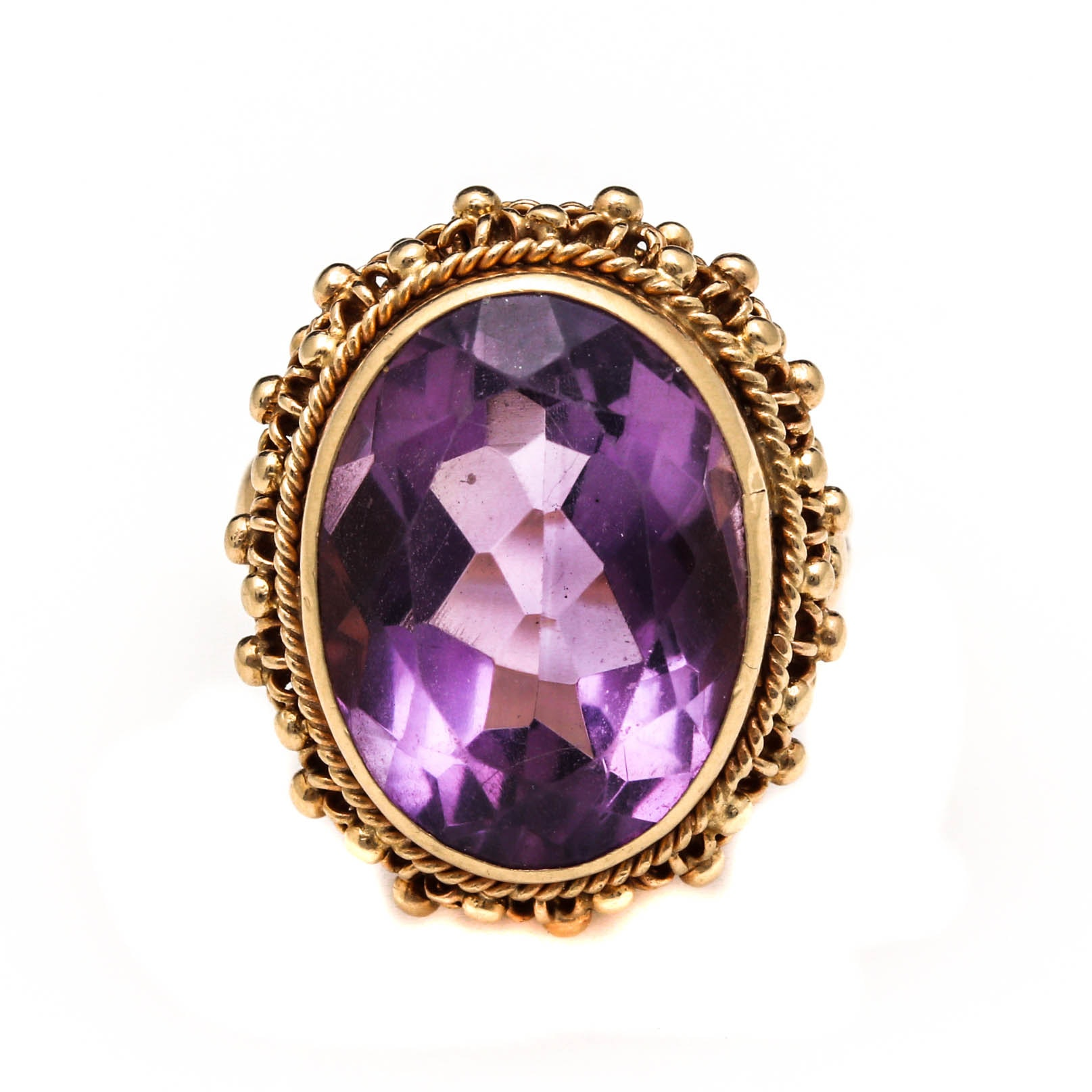 Vintage 14K Yellow Gold 12.59 CT Amethyst Cocktail Ring