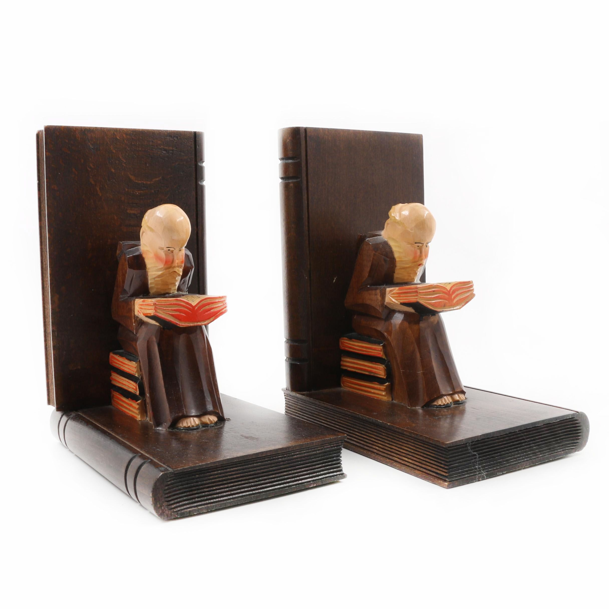 Rhon Sepp Carved Wood Bookends From Germany