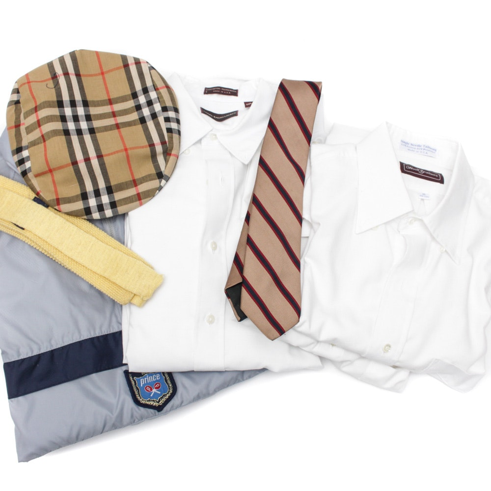 Men's Clothing Assortment Featuring Burberry