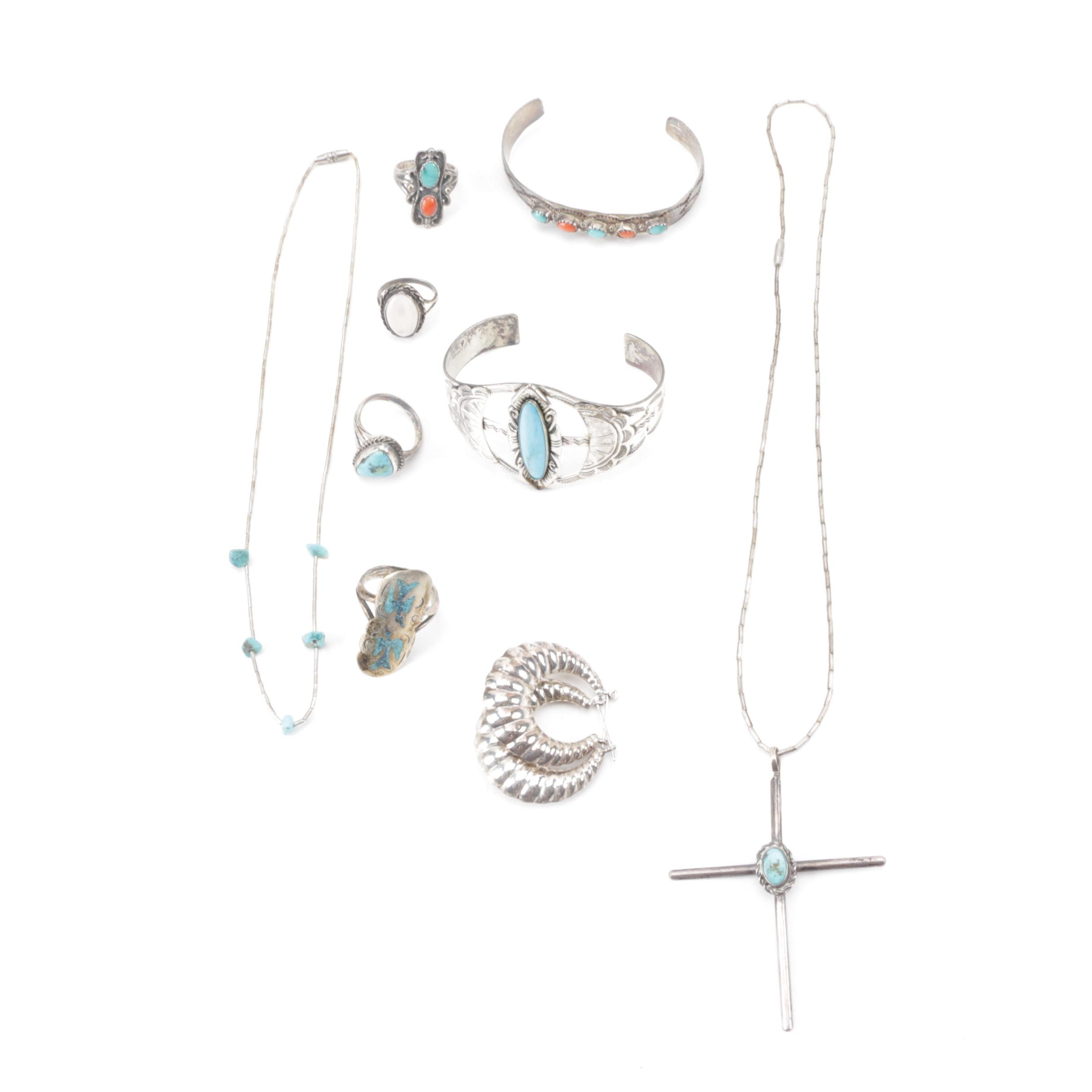 Assortment of Southwest Style Sterling Silver Jewelry