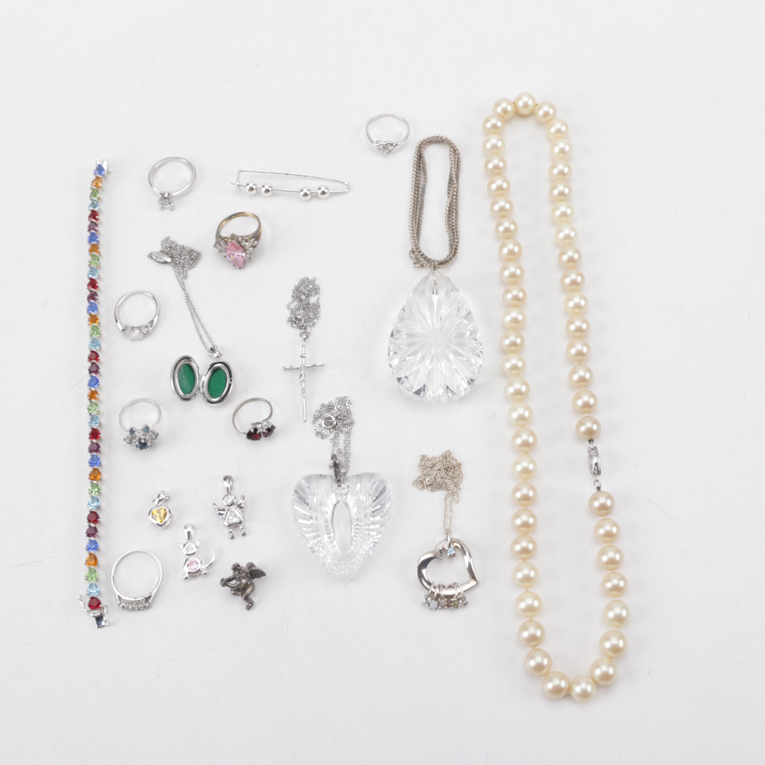 Grouping of Sterling Silver Jewelry Featuring Waterford and Lenox