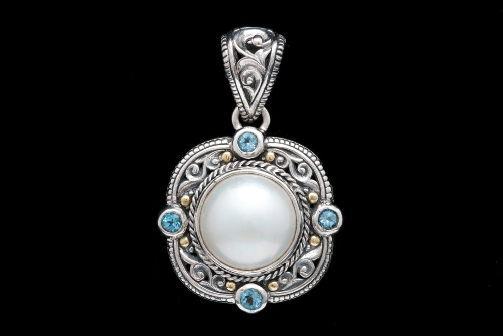 Robert Manse Sterling Silver, 18K Yellow Gold, Mabé Pearl and Blue Topaz Pendant