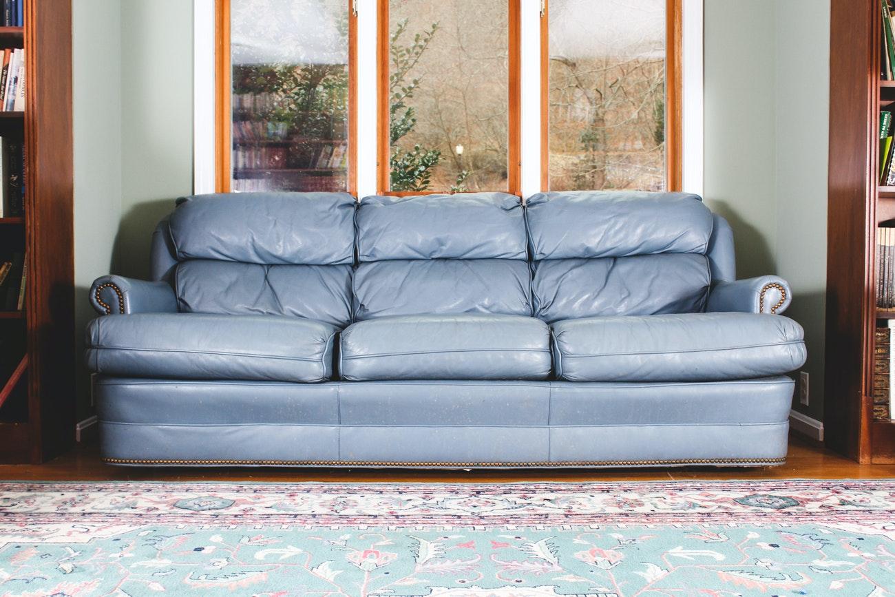 Stegman's Vintage Blue Leather Sofa