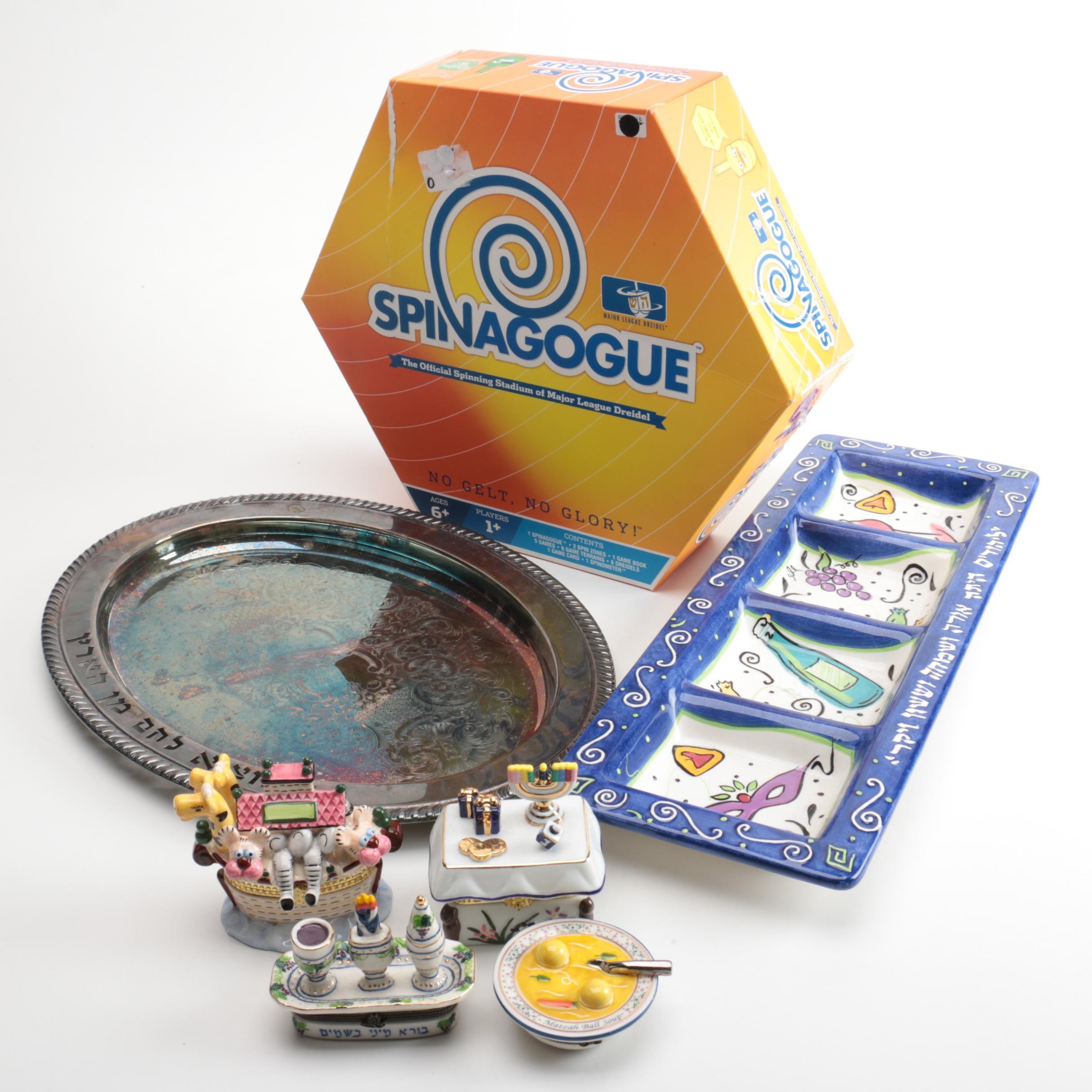 "Judaica Collection and ""Spinagogue"" Dreidel Game"