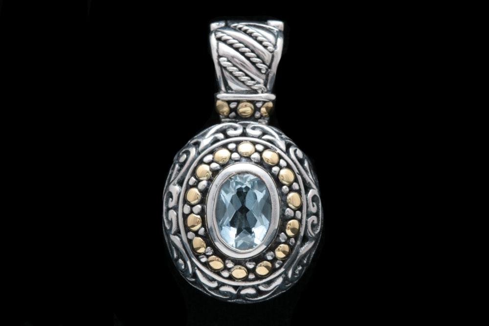 Robert Manse Sterling Silver, 18K Yellow Gold and Aquamarine Pendant