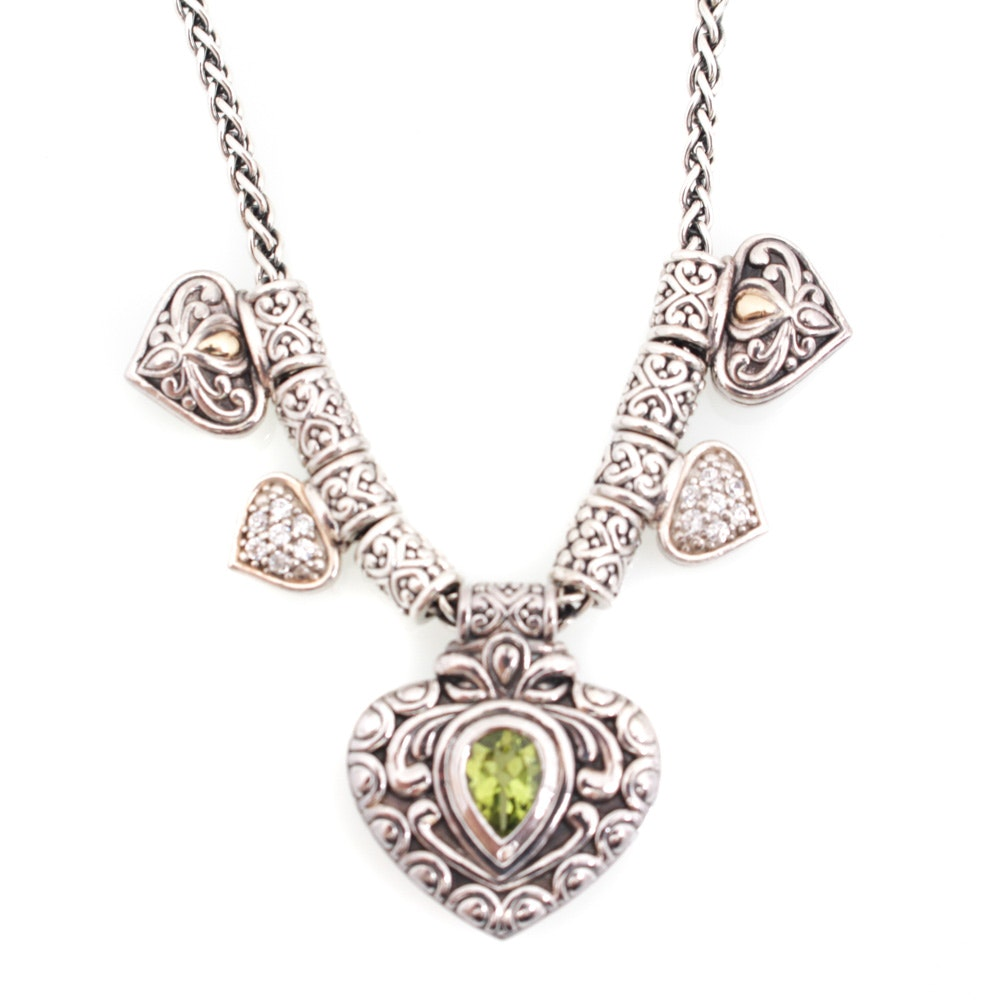 Sterling Silver and 14K White Gold Peridot Necklace