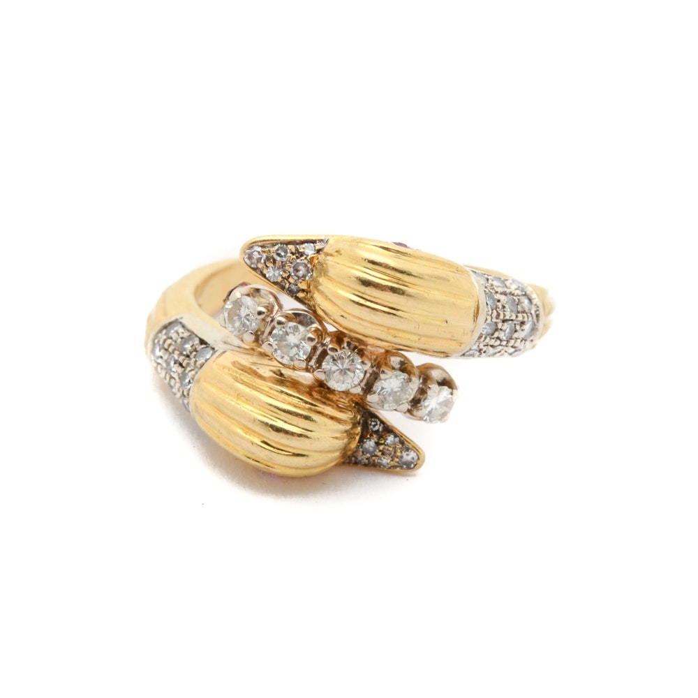 18K Two-Tone Gold Diamond Figural Swan Ring