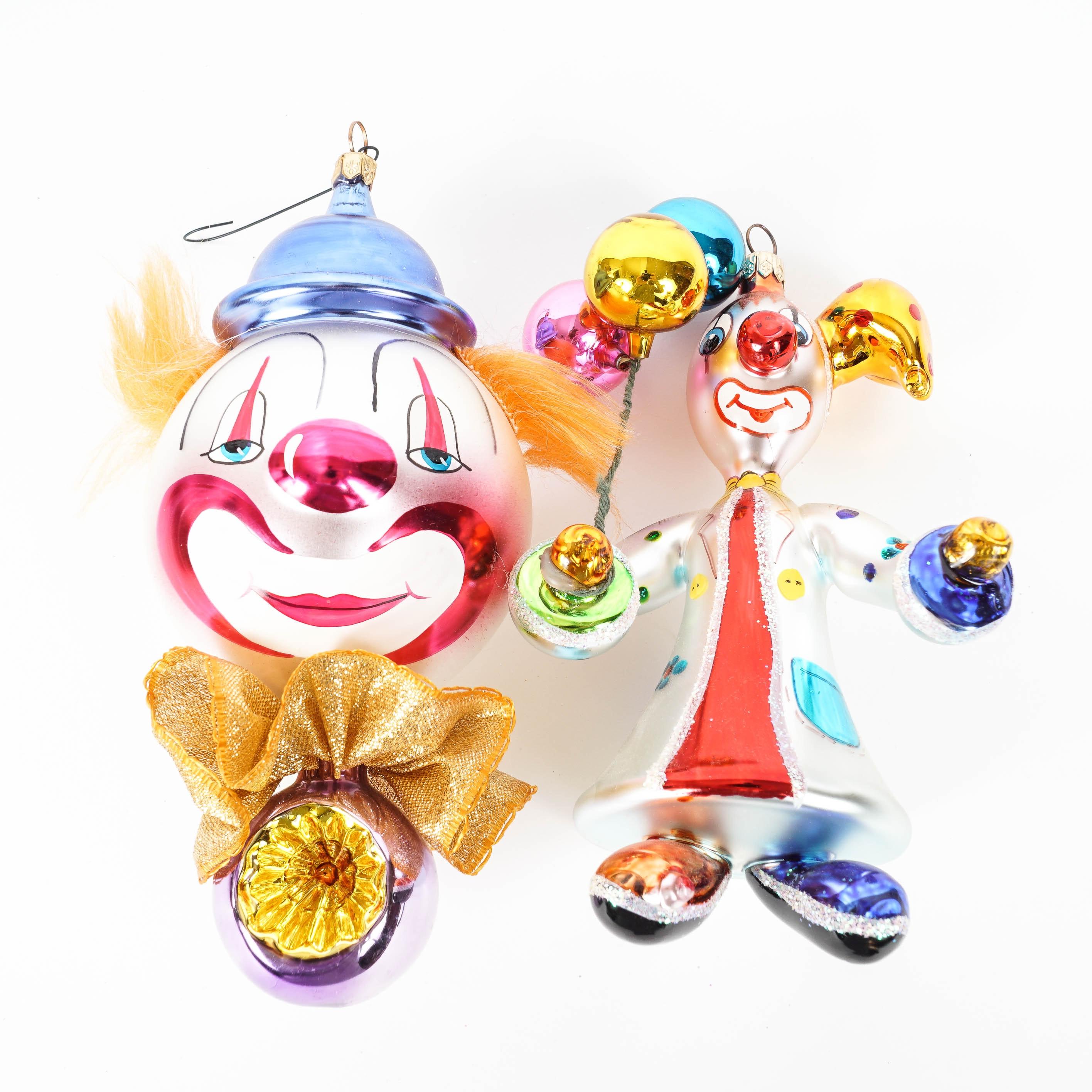 "Christopher Radko ""Reflecto"" and ""Bobbles"" Glass Clown Ornaments"