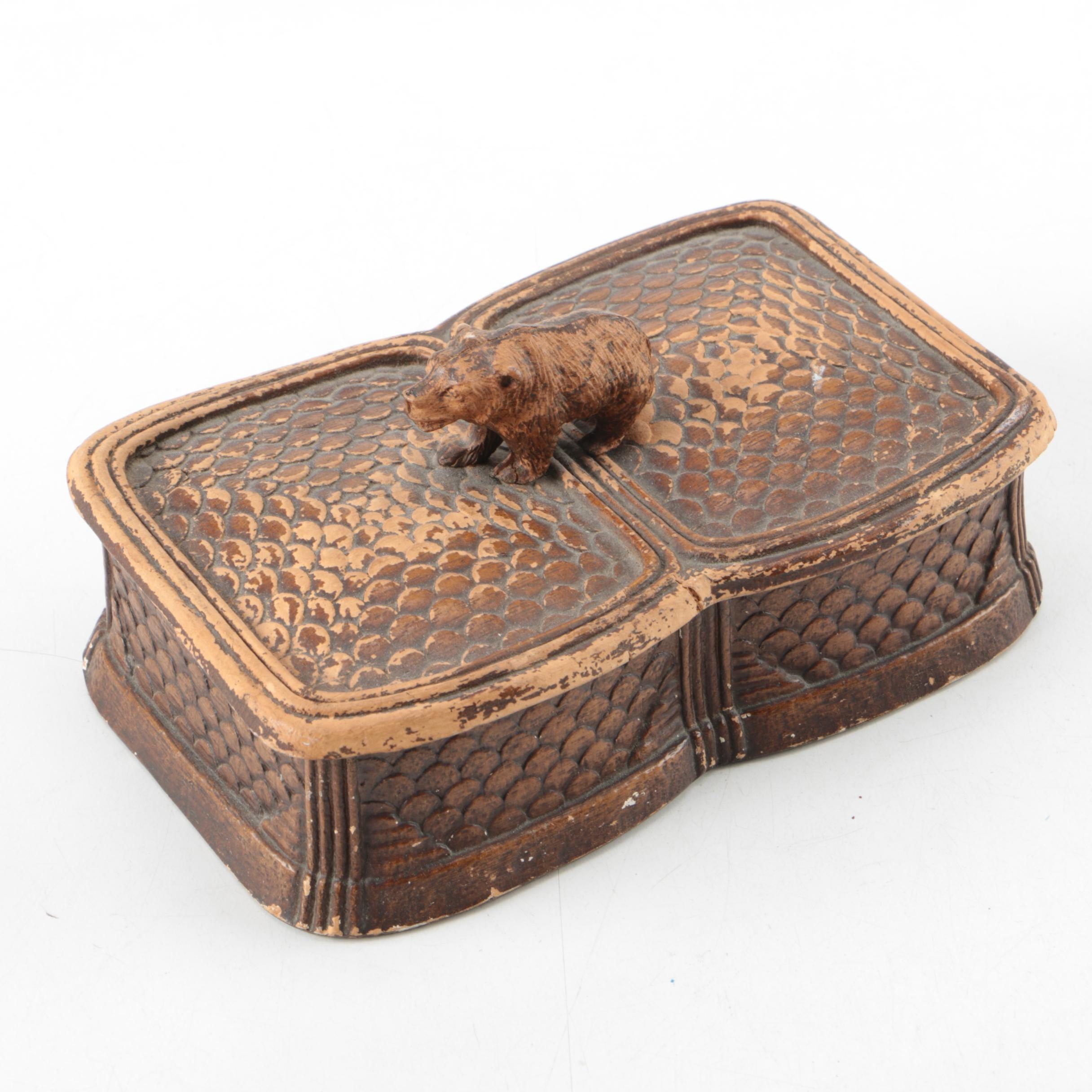Carved Wooden Trinket Box with Bear Cub
