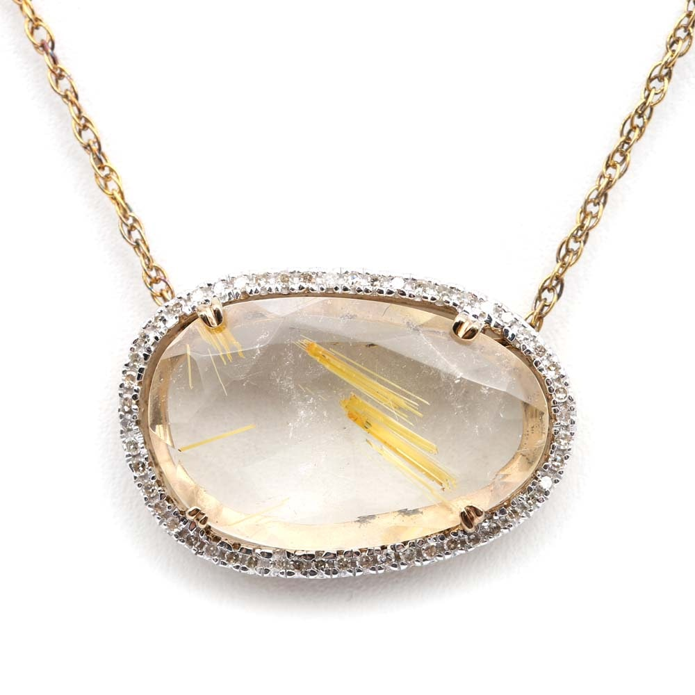 Sterling Silver Rutilated Quartz and Diamond Pendant with Gold Wash