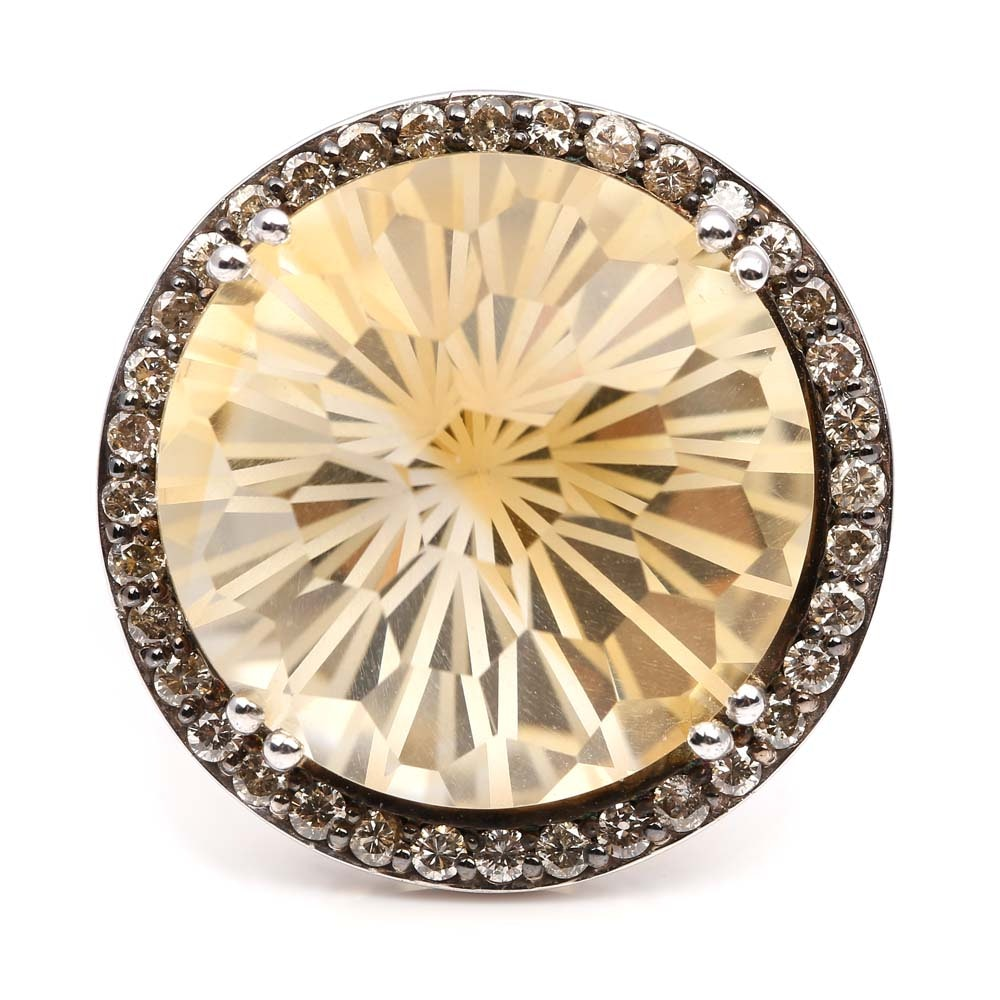 Sterling Silver 25.65 Carat Citrine and Diamond Halo Ring