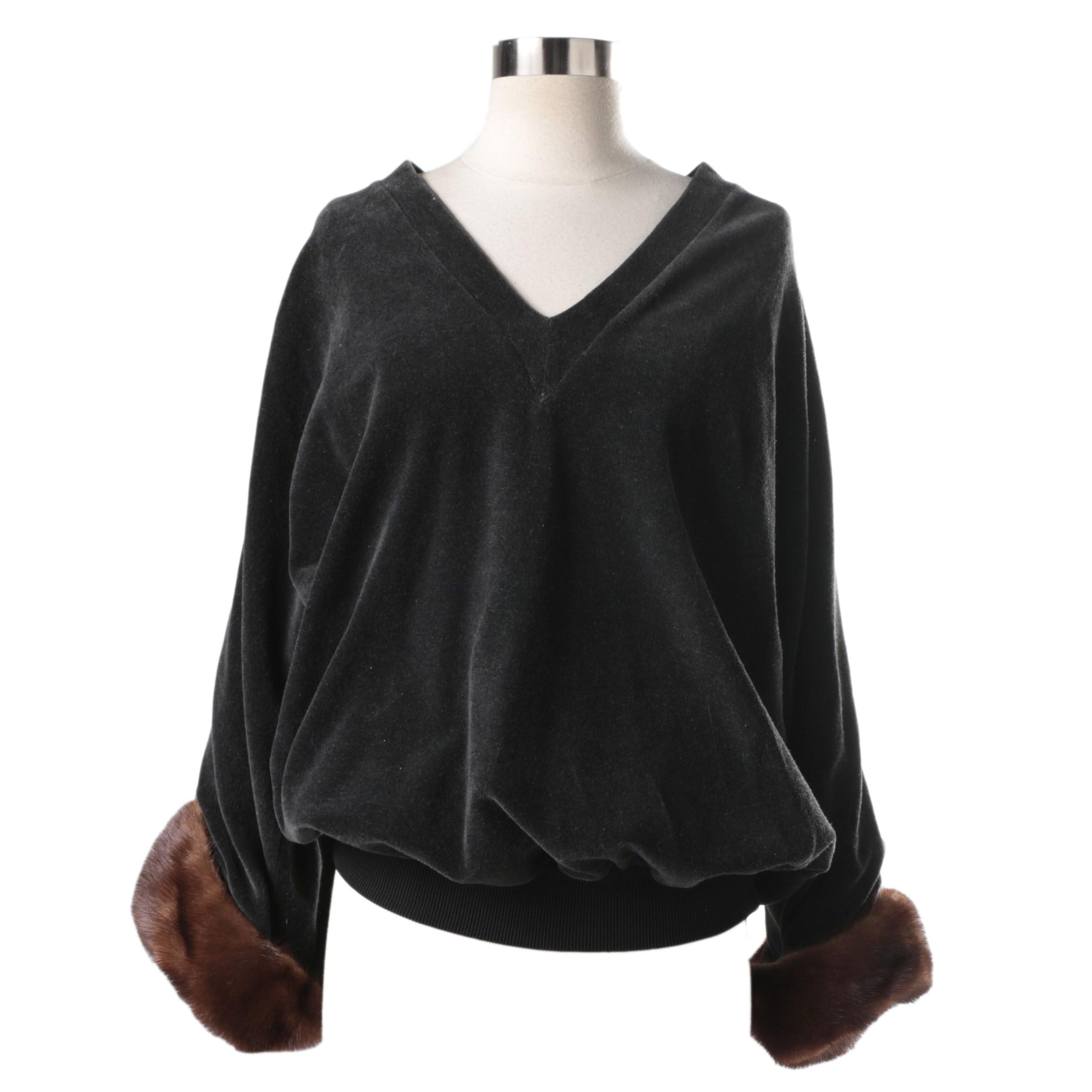 Gianfranco Ferre Velour Sweater with Mink Cuffs