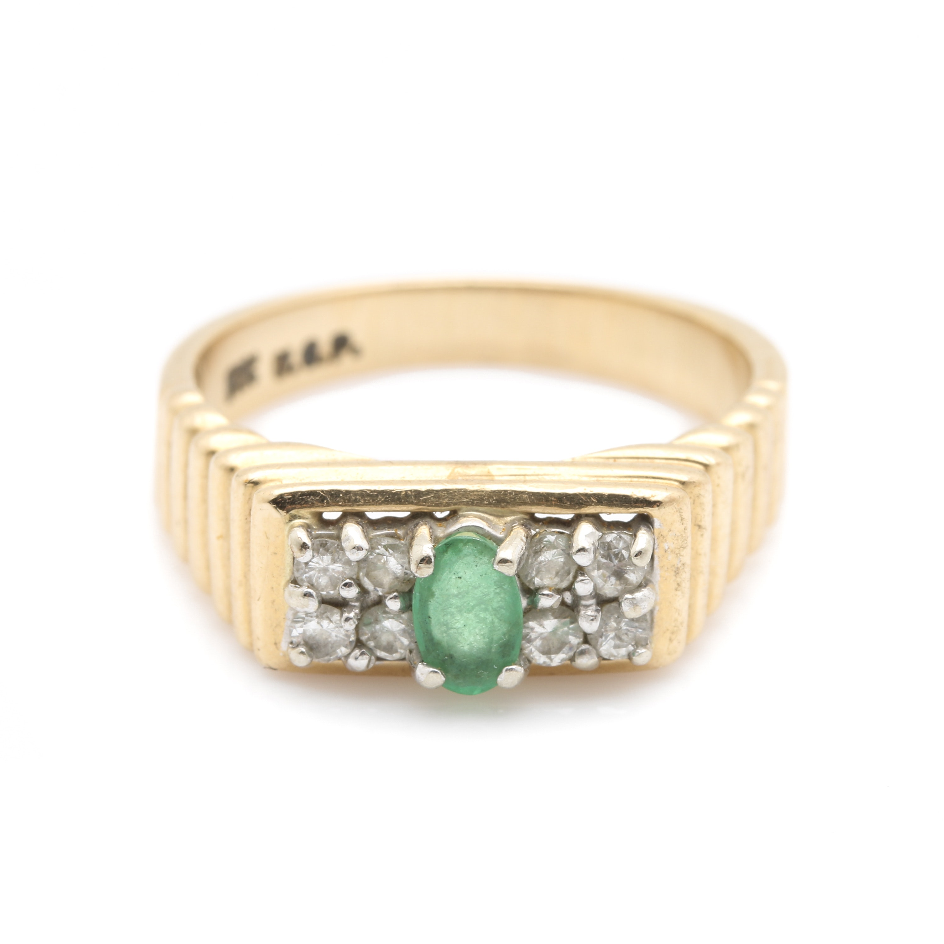 14K Two-Tone Gold Emerald and Diamond Ring