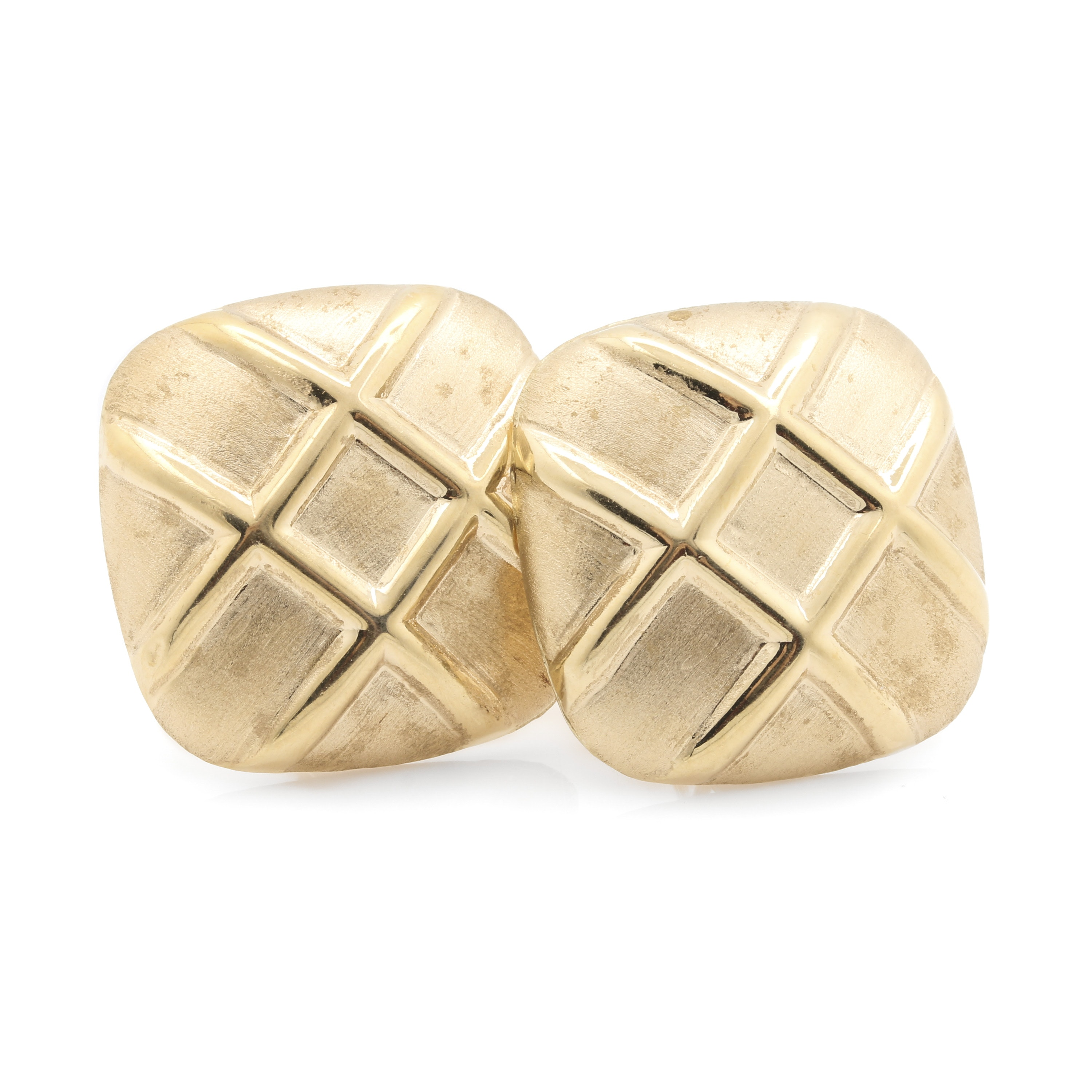 14K Yellow Gold Square Crosshatch Earrings
