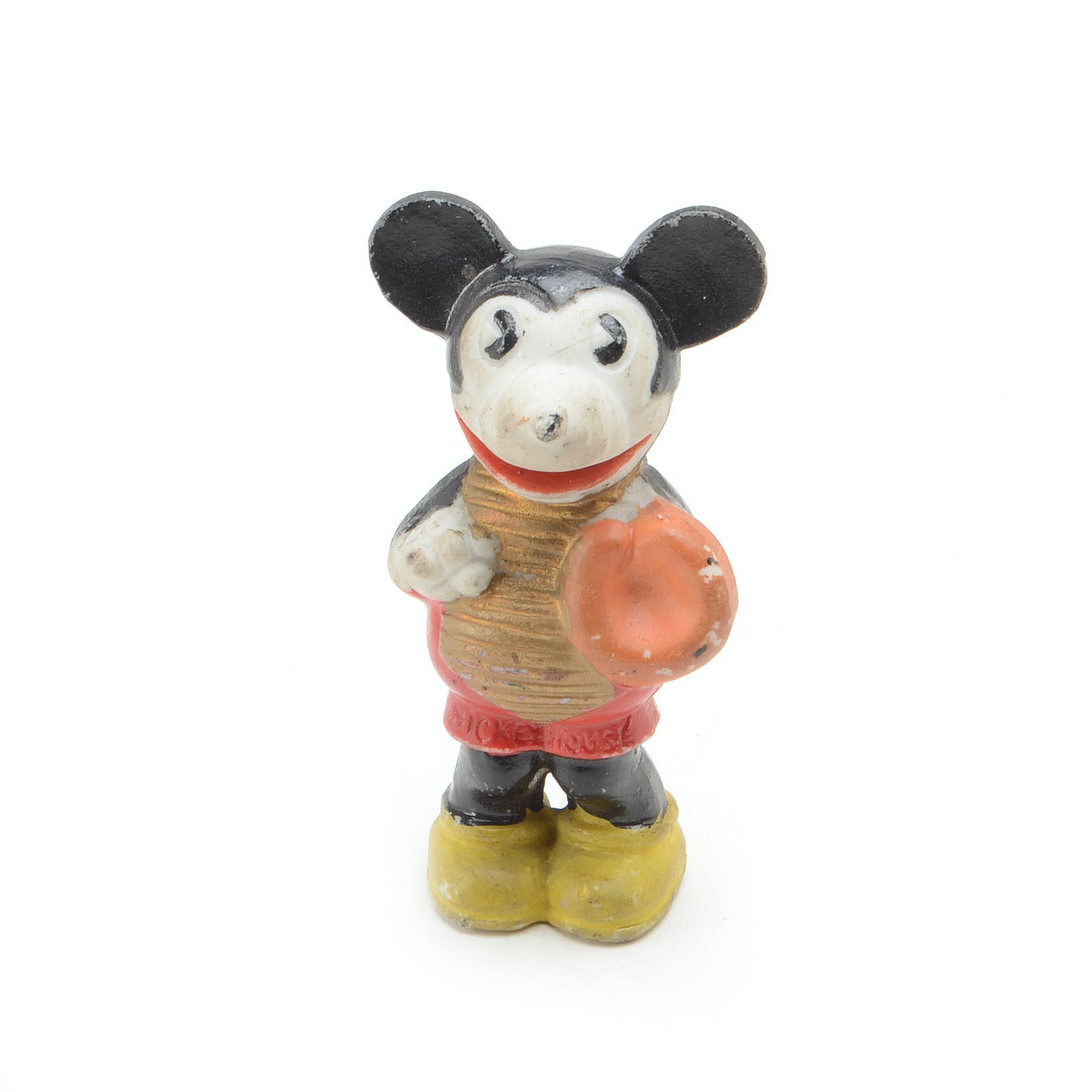 "Antique Mickey Mouse ""Pie Eyed"" Bisque Baseball Figure"