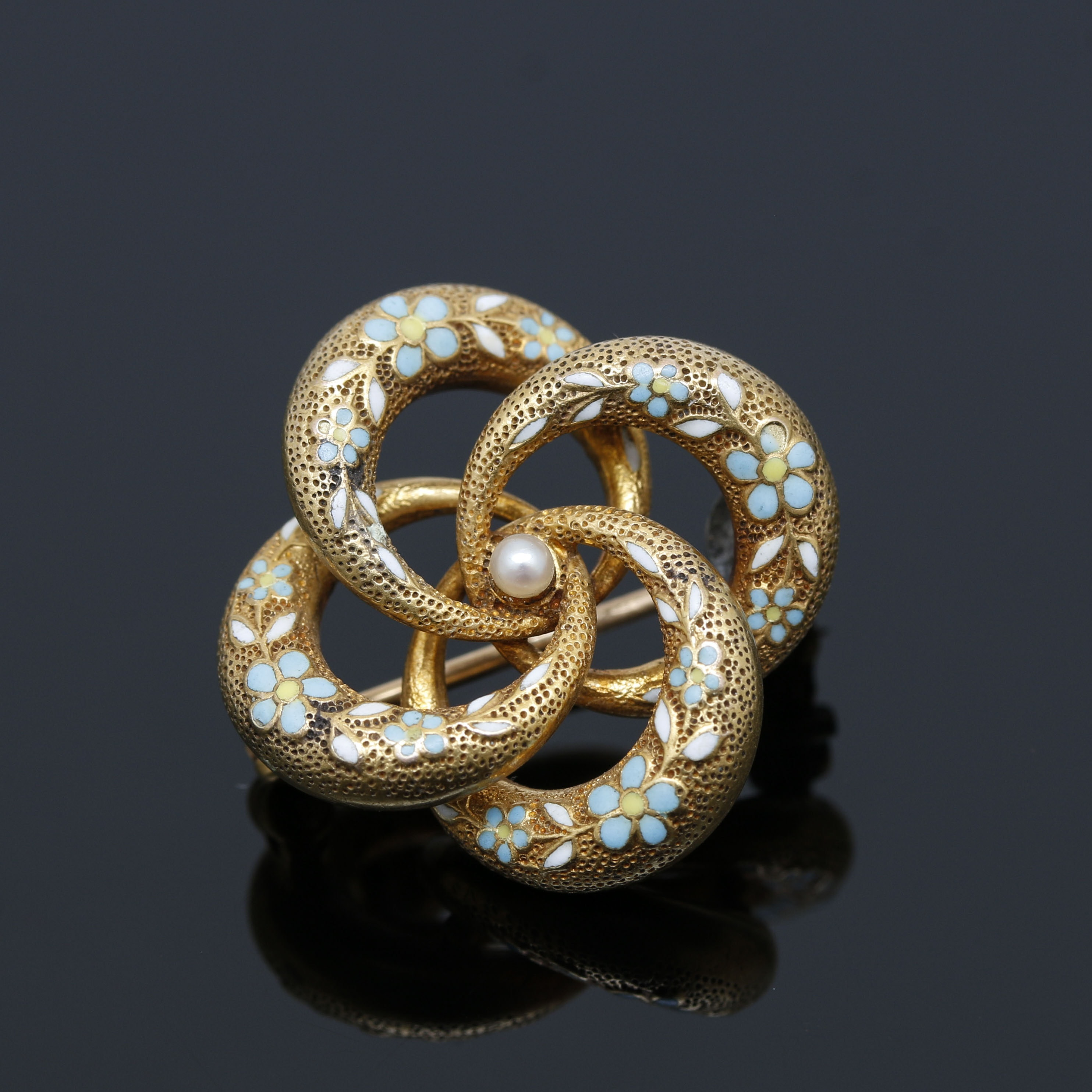 Art Nouveau 14K Yellow Gold Cultured Seed Pearl and Enamel Brooch