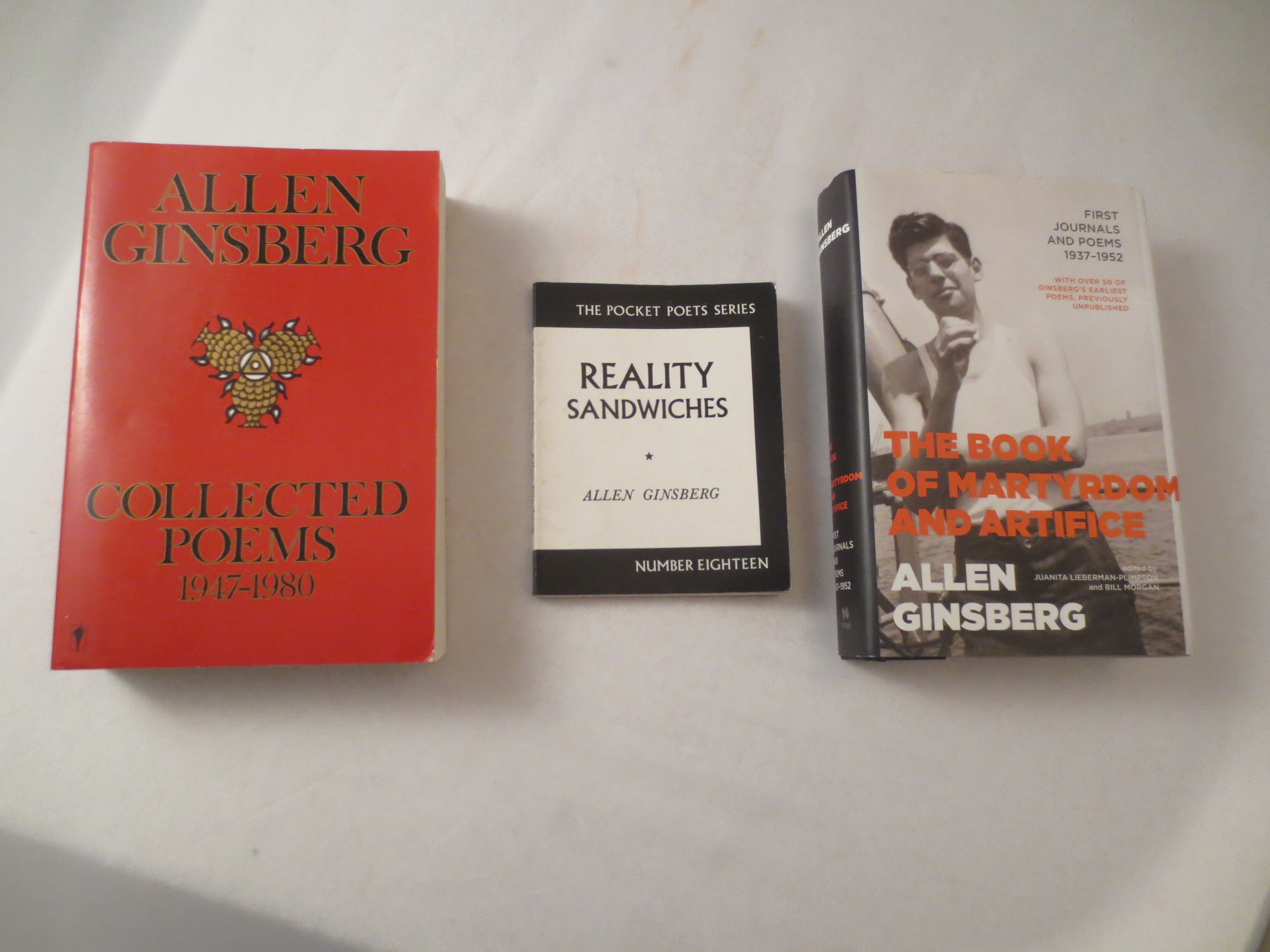 3 Allen Ginsberg Books Including The Book of Martyrdom and Sacrifice and Reality