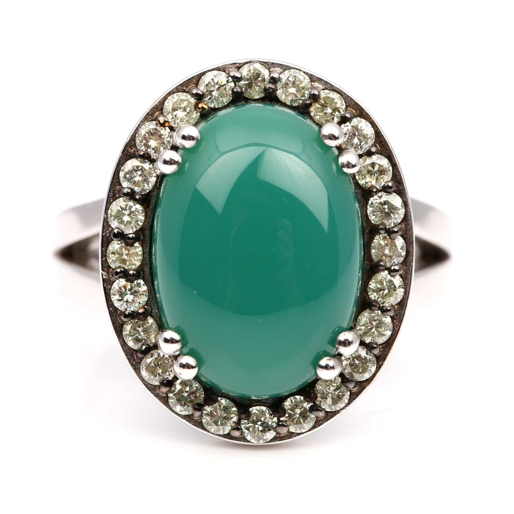 Sterling Silver Green Chalcedony and Diamond Ring