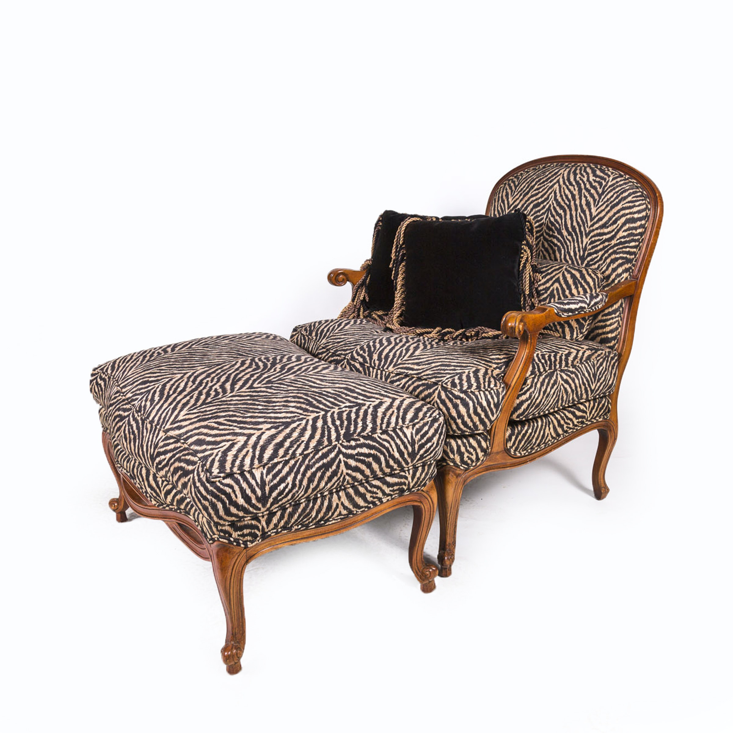 Louis XV Style Fauteuil with Ottoman by Ethan Allen