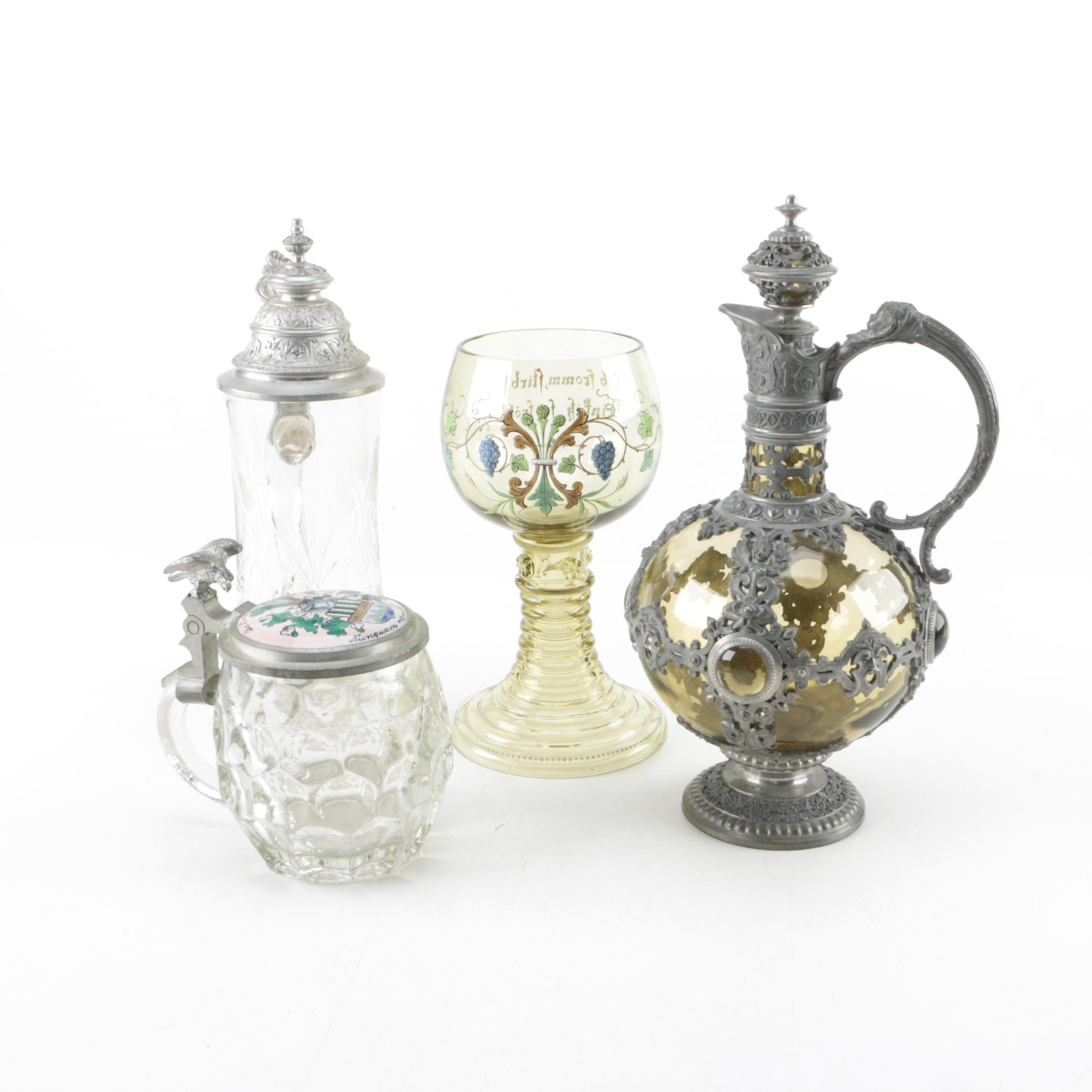 Vintage Pewter and Glass Tableware