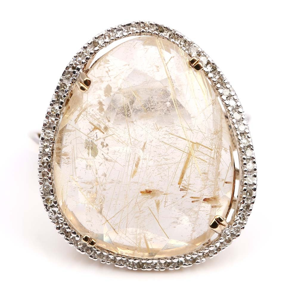 Sterling Silver Rutilated Quartz and Diamond Ring with Gold Wash