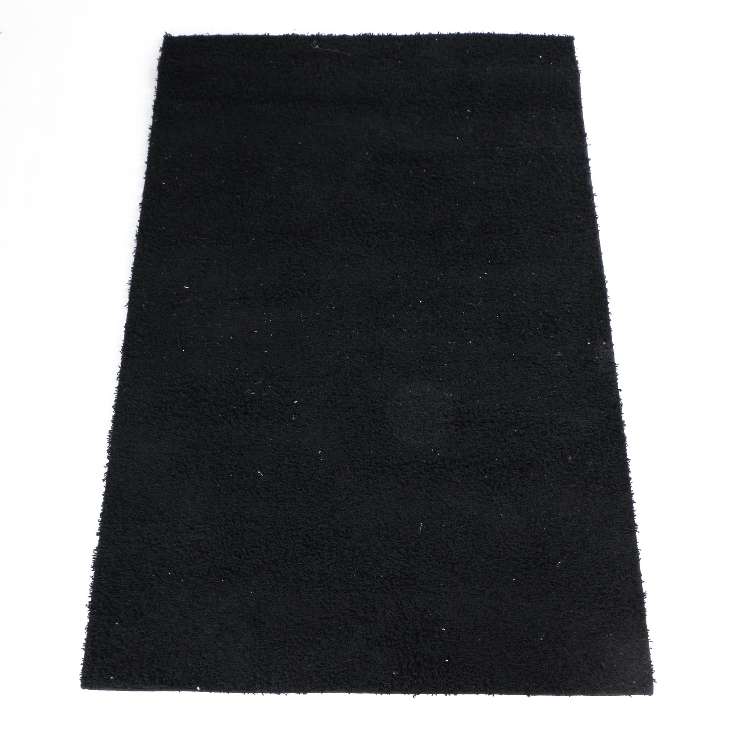 Machine-Made Black Synthetic Shag Area Rug